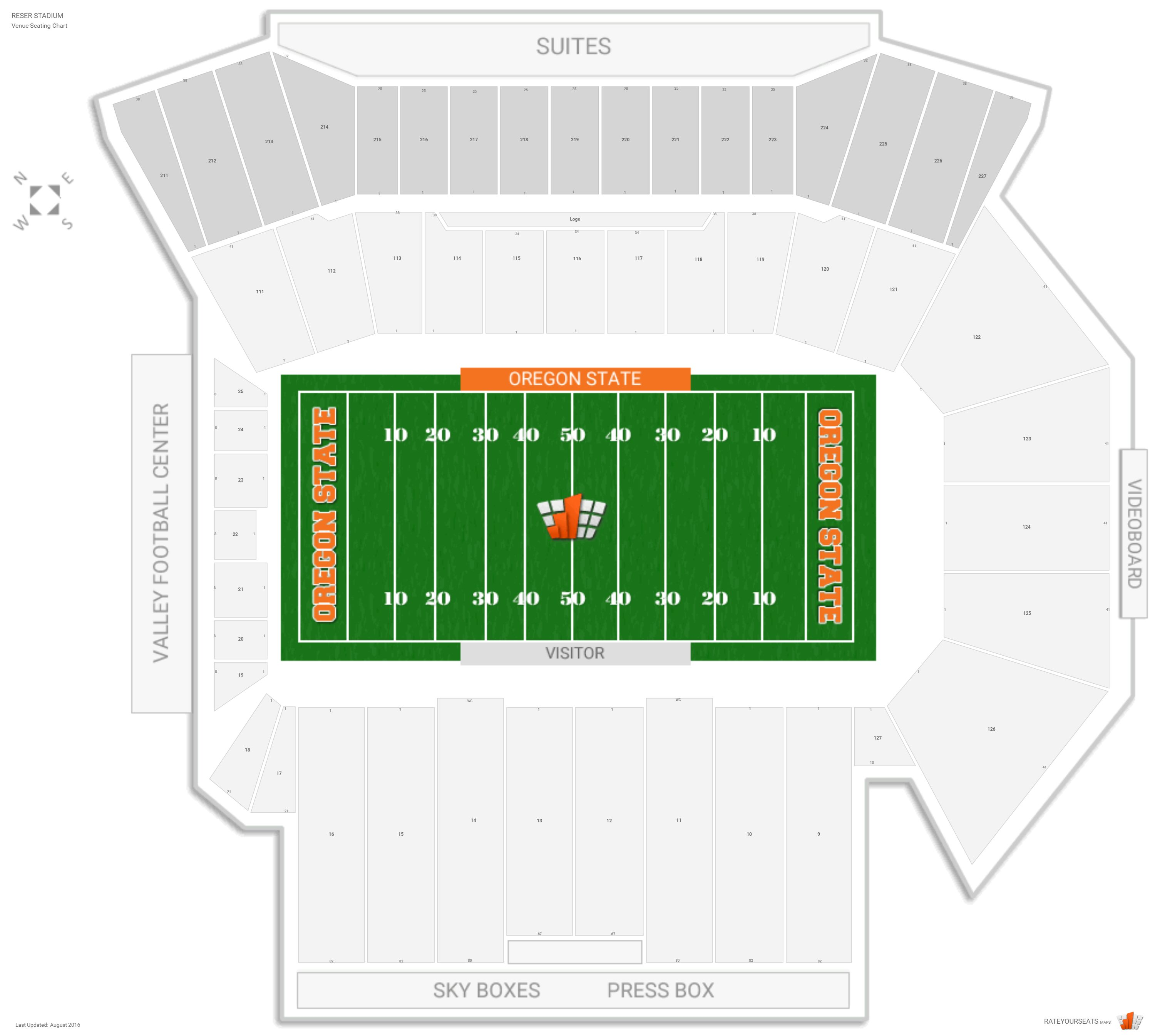 Reser Stadium Seating Chart with Row Numbers