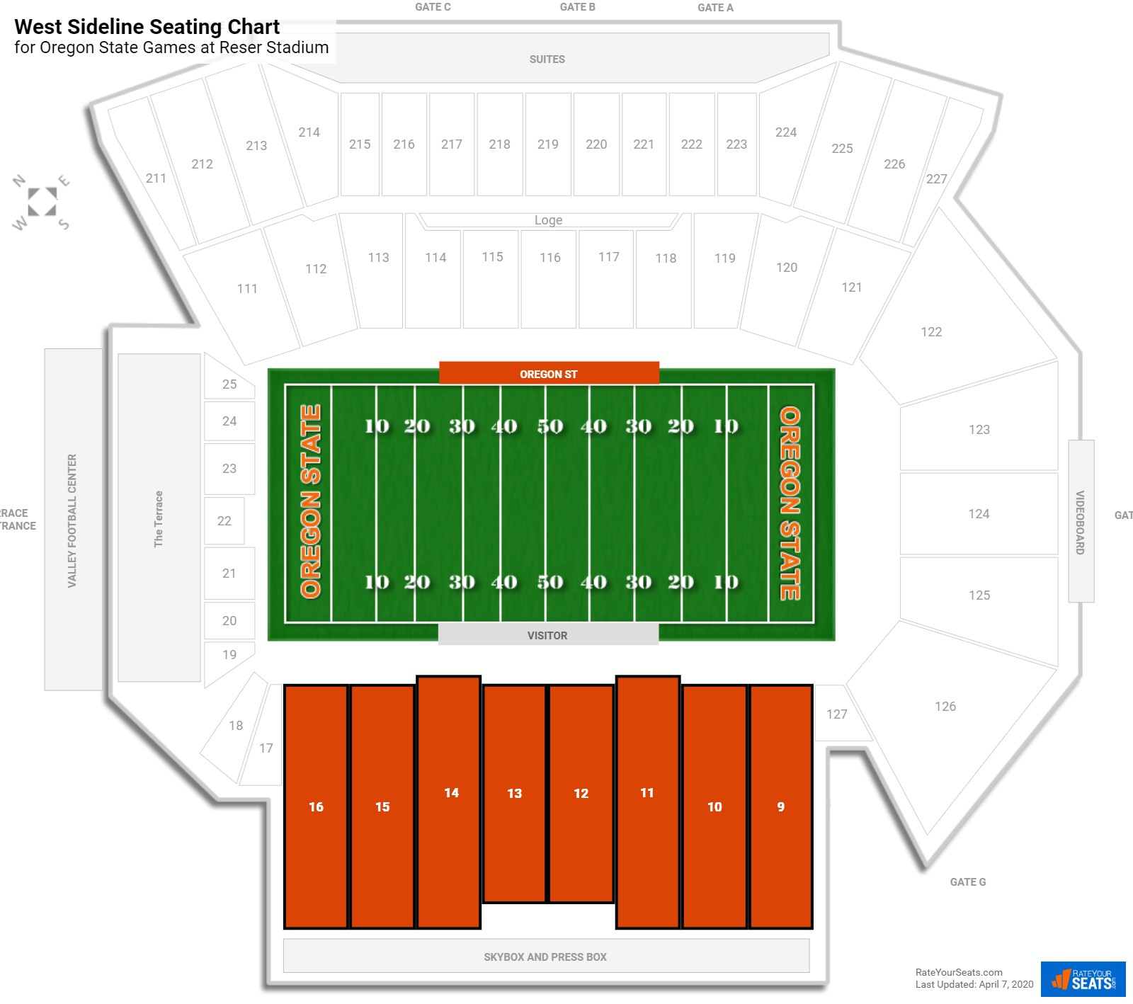 Reser Stadium West Sideline seating chart