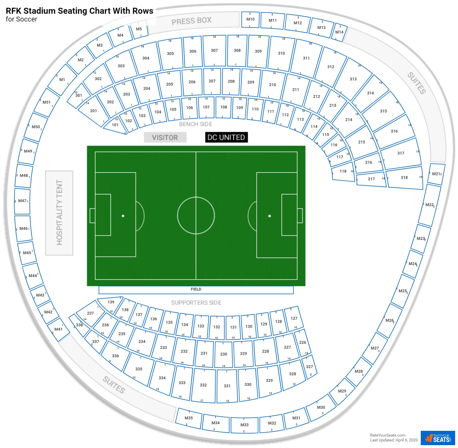 RFK Stadium seating chart with rows soccer