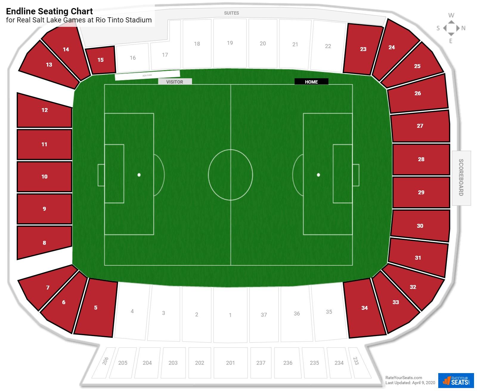 Rio Tinto Stadium Endline Seating Chart