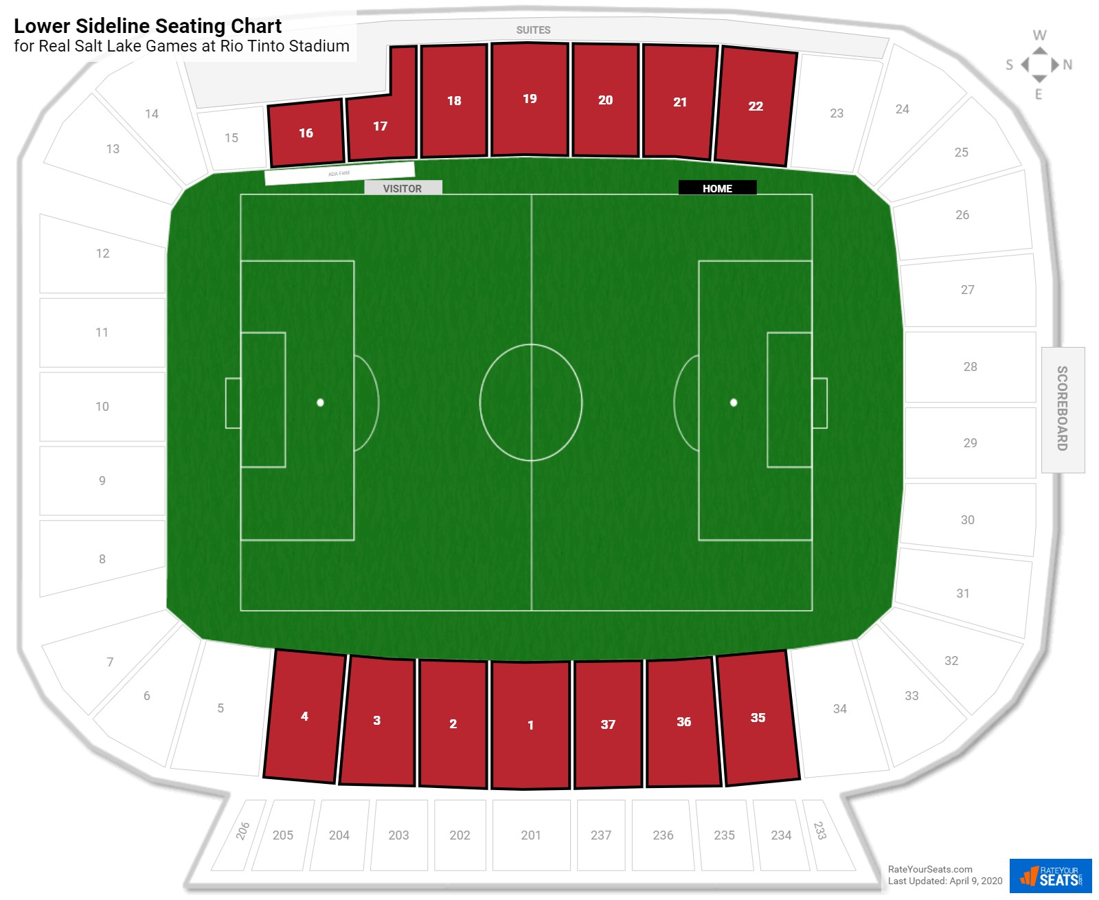 Rio Tinto Stadium Lower Sideline Seating Chart