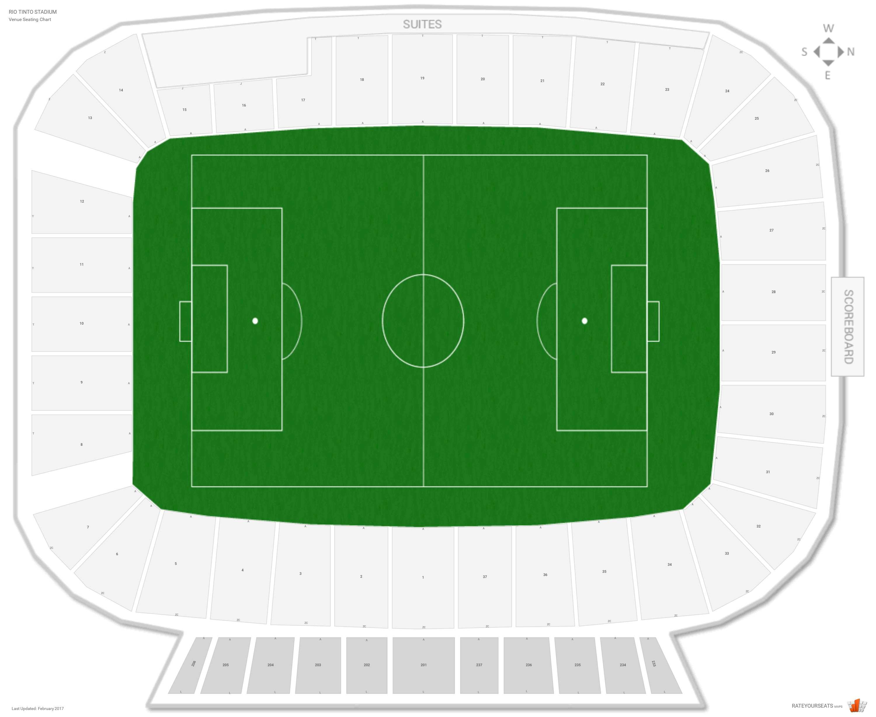 Rio Tinto Stadium Seating Chart with Row Numbers