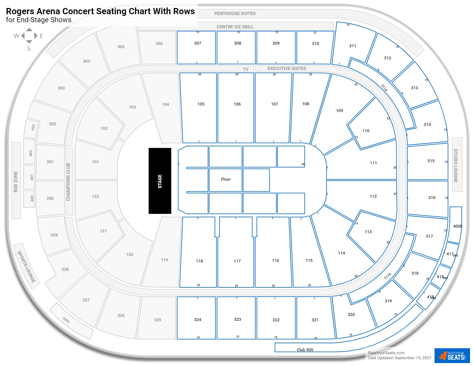 Rogers Arena seating chart with rows concert