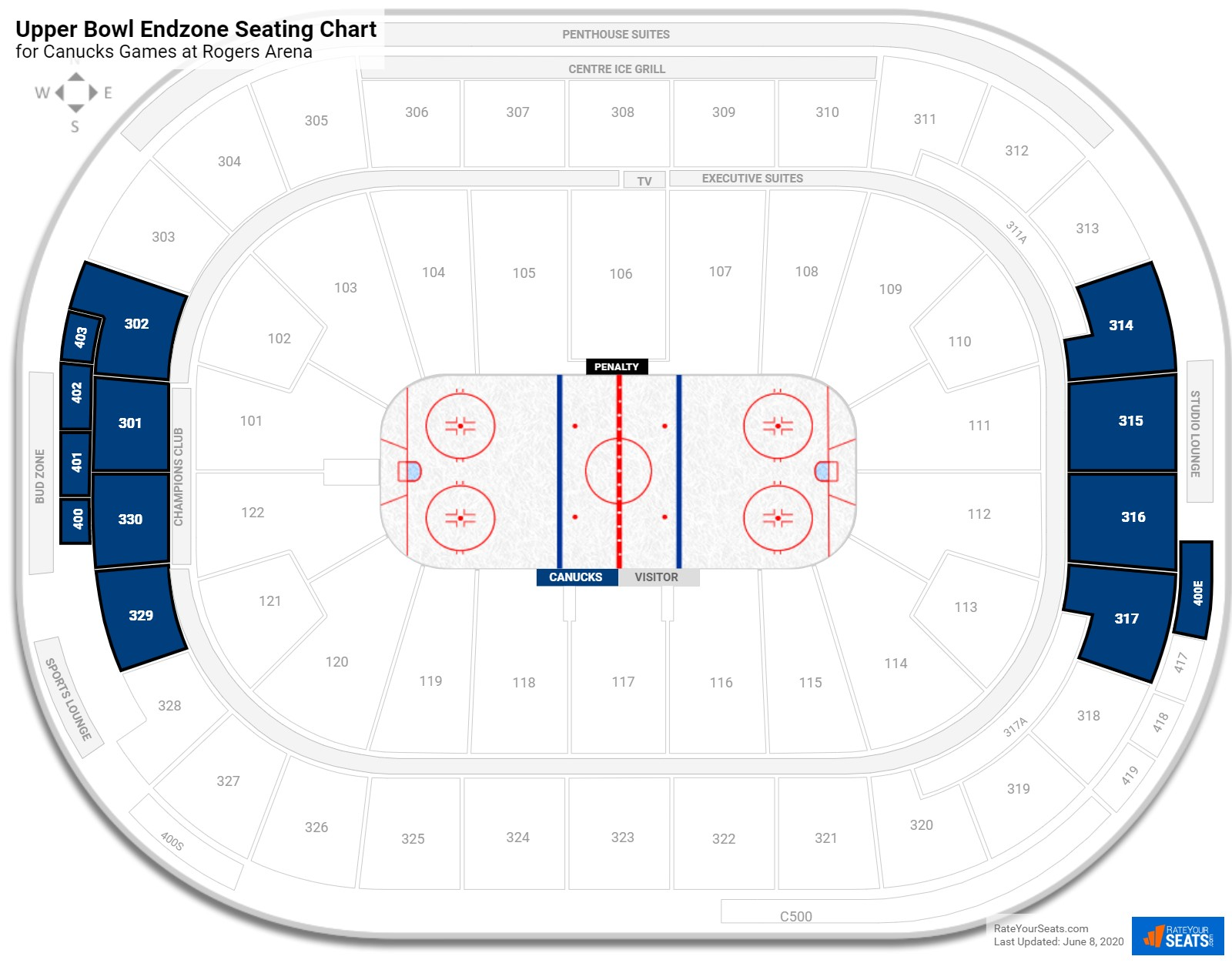 Rogers Arena Rogers Level Behind the Net seating chart