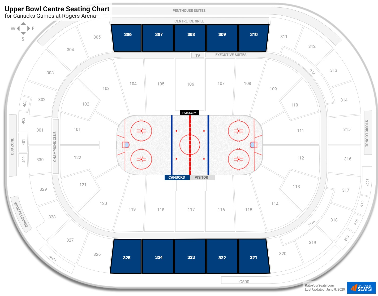 Rogers Arena Rogers Level Center seating chart