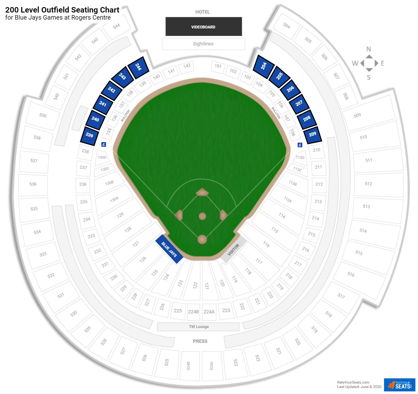 Rogers Centre 200 Level Outfield seating chart