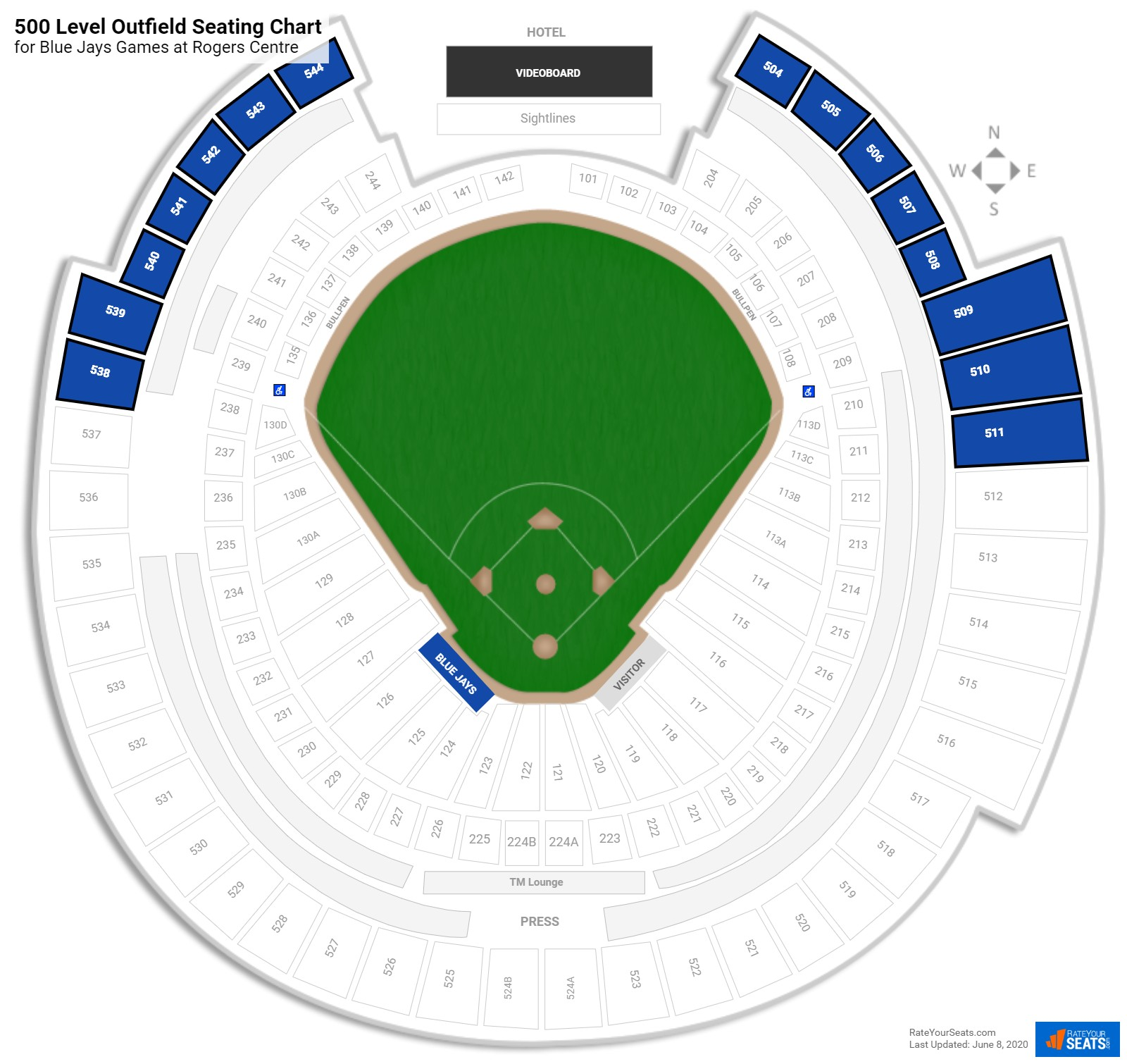 Rogers Centre 500 Level Outfield seating chart