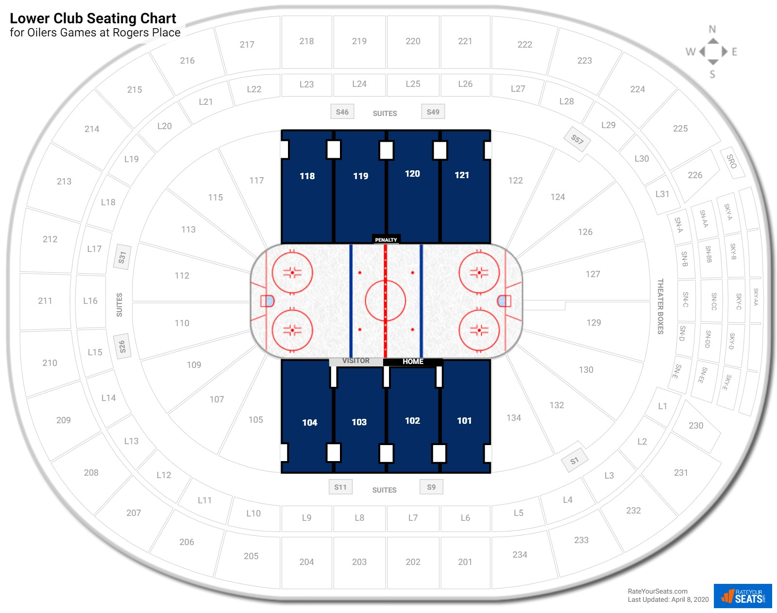 Rogers Place Lower Club seating chart