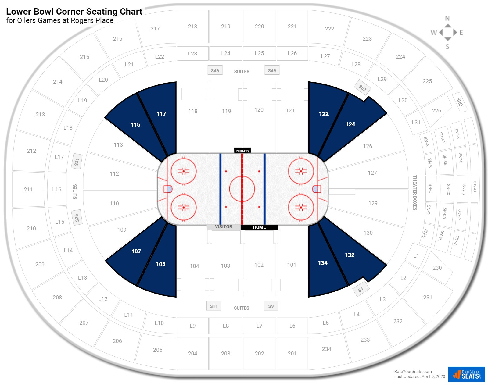 Rogers Place Lower Corner seating chart
