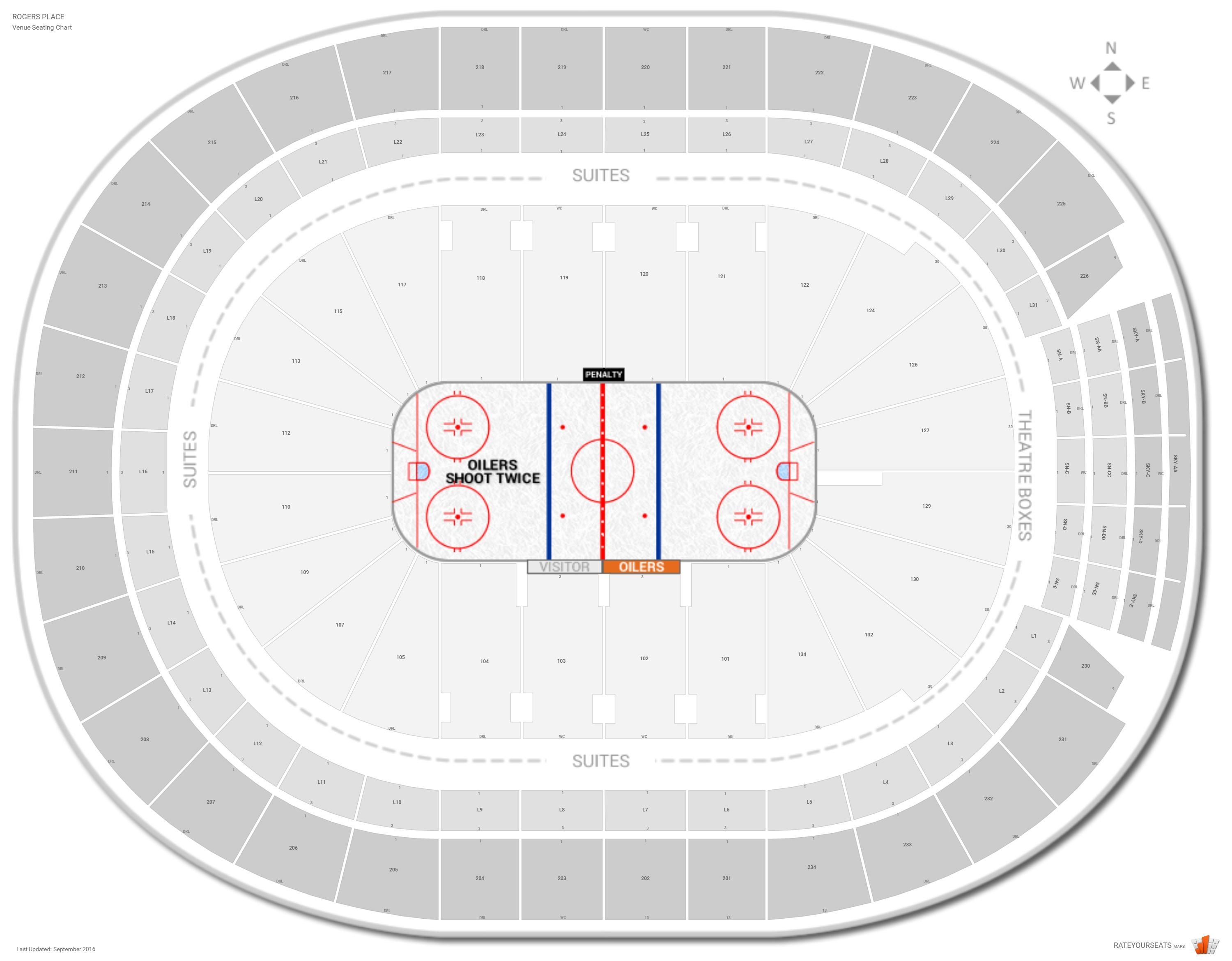 Rogers Place Seating Chart with Row Numbers