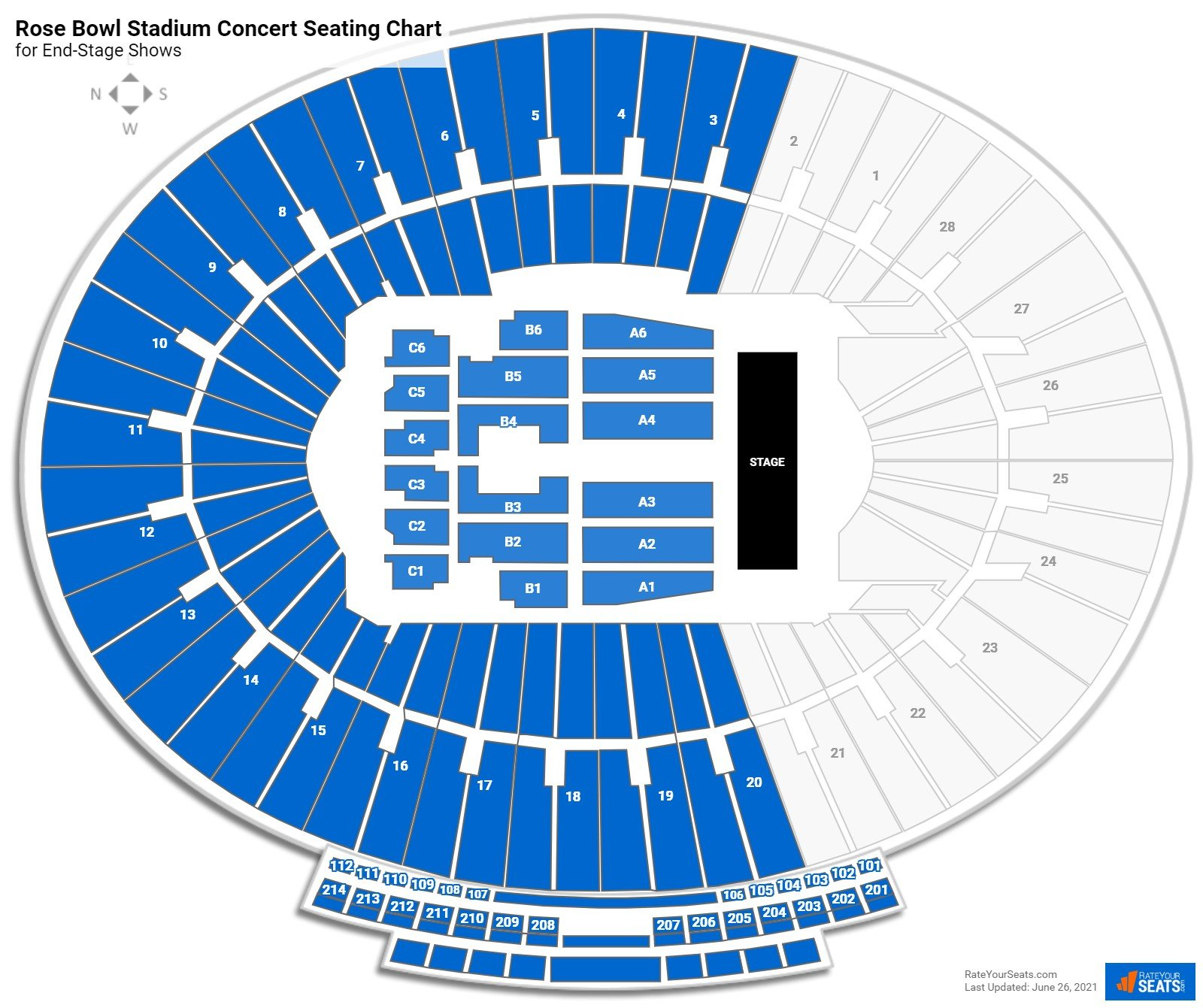 Rose Bowl Stadium Seating Chart for Concerts