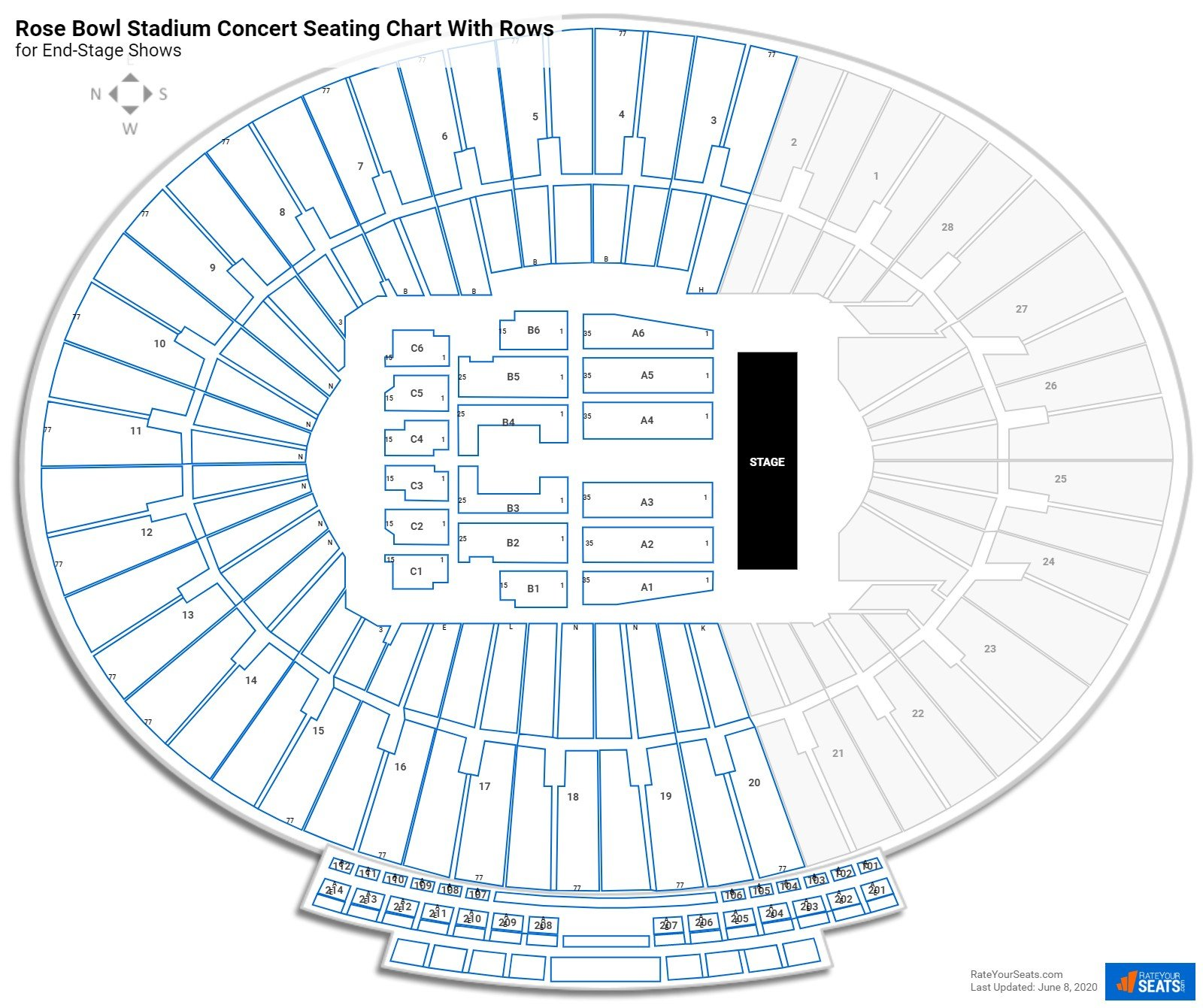 Rose Bowl Stadium seating chart with rows concert