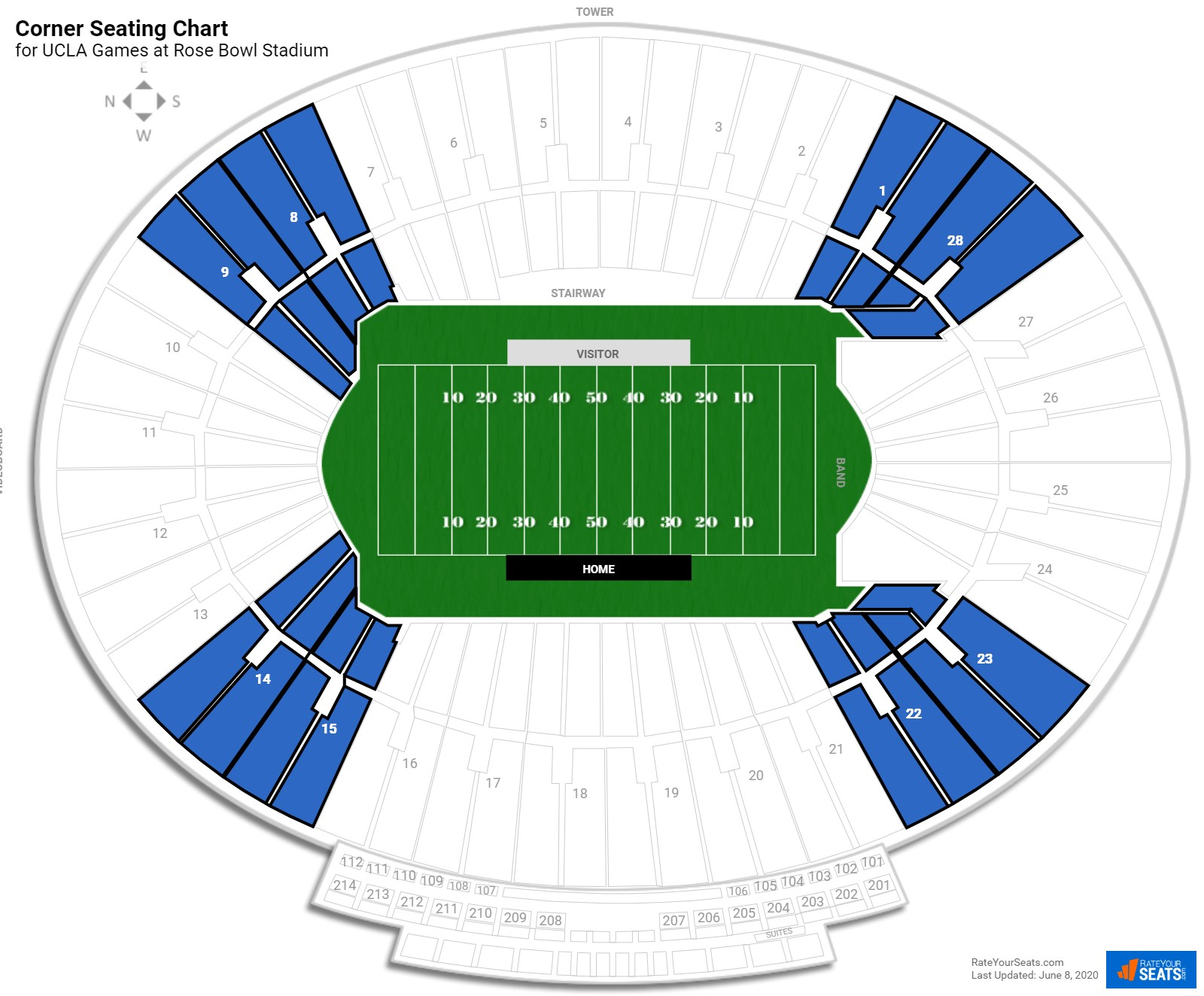 Rose Bowl Stadium Corner seating chart