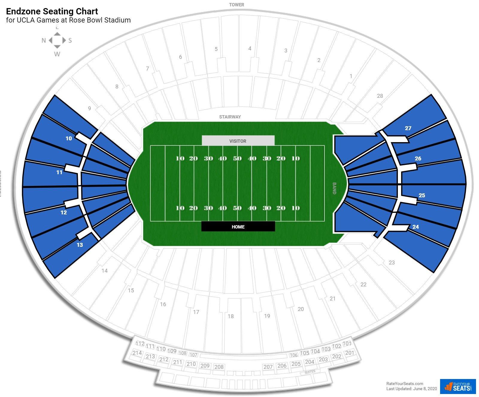 endzone rose bowl stadium football seating. Black Bedroom Furniture Sets. Home Design Ideas