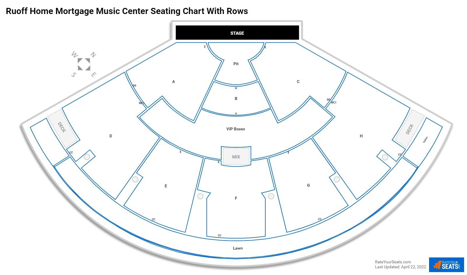 Ruoff Home Mortgage Music Center seating chart with rows