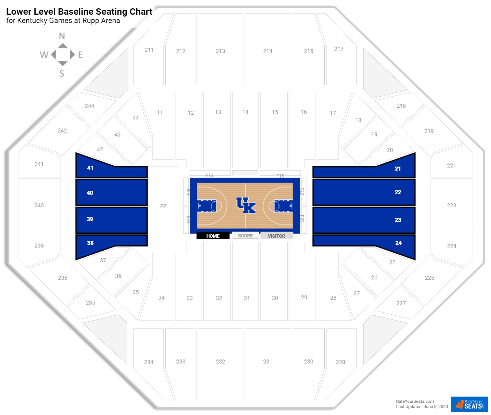 Rupp Arena Lower Level Baseline Seating Chart