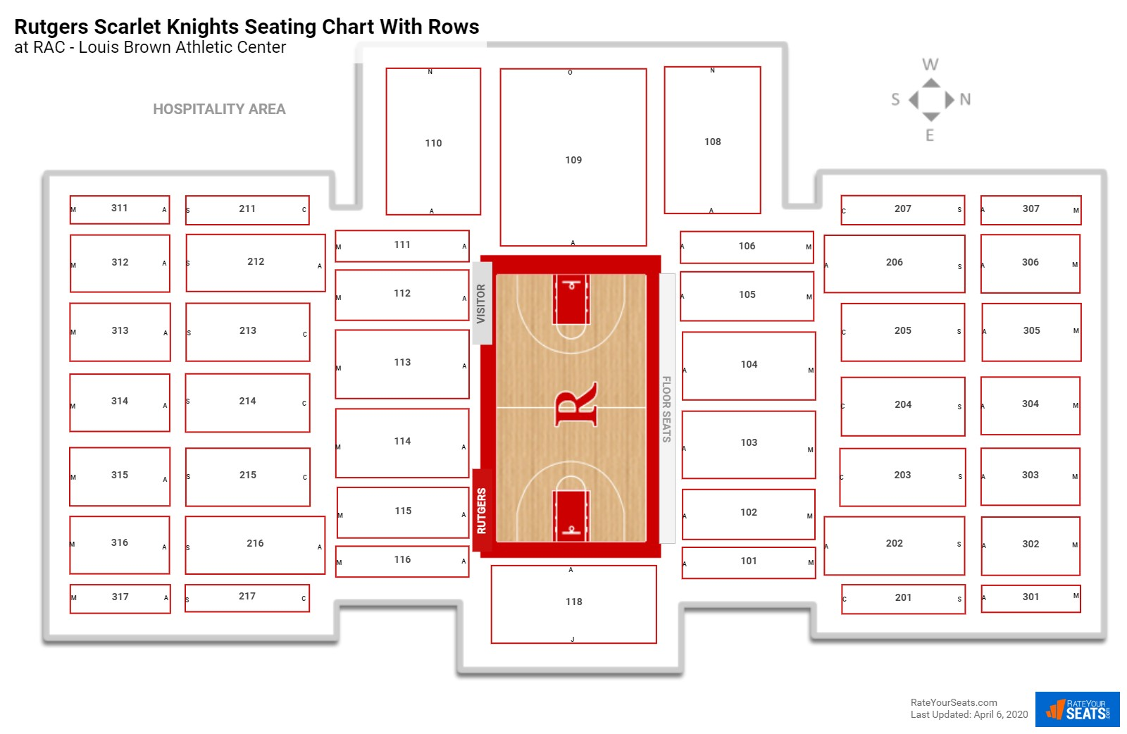 RAC - Louis Brown Athletic Center seating chart with rows