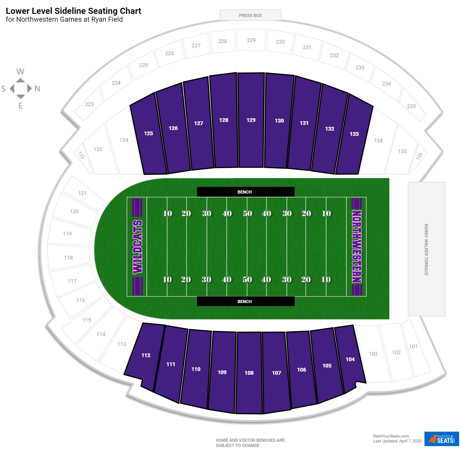 Ryan Field Lower Level Sideline seating chart