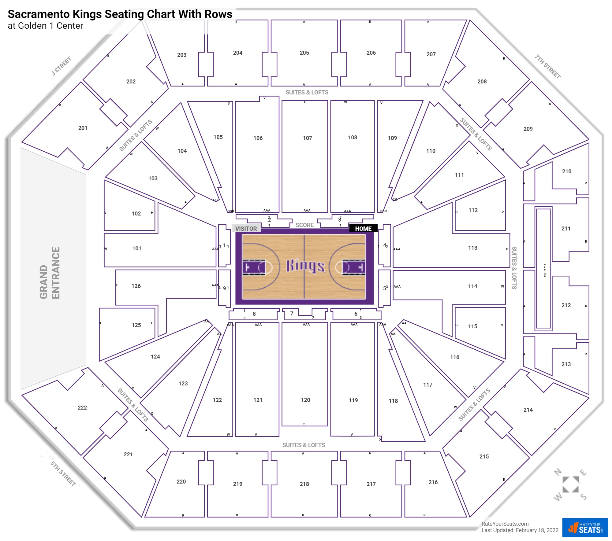 Golden 1 Center seating chart with rows basketball