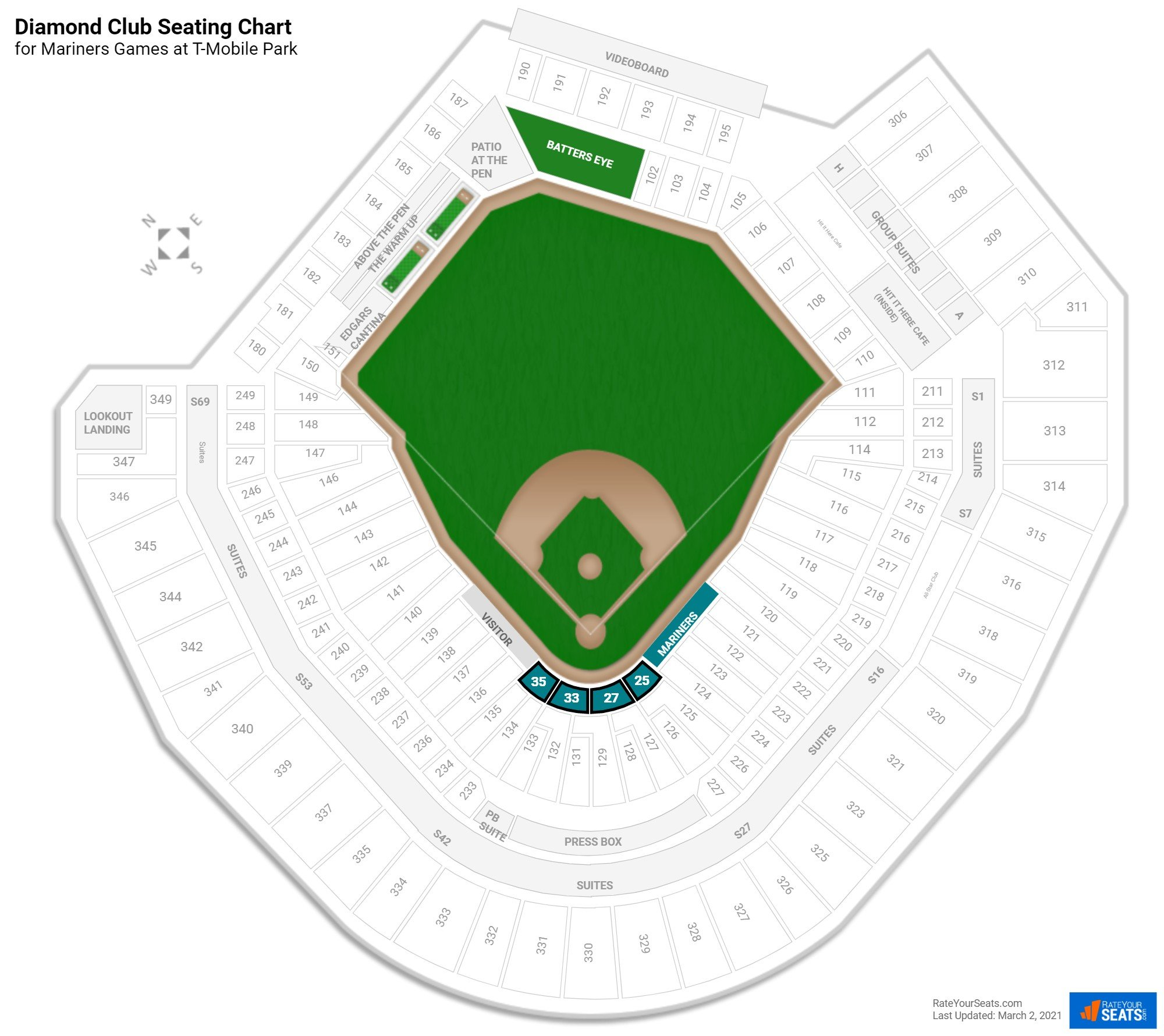Safeco Field Diamond Club seating chart