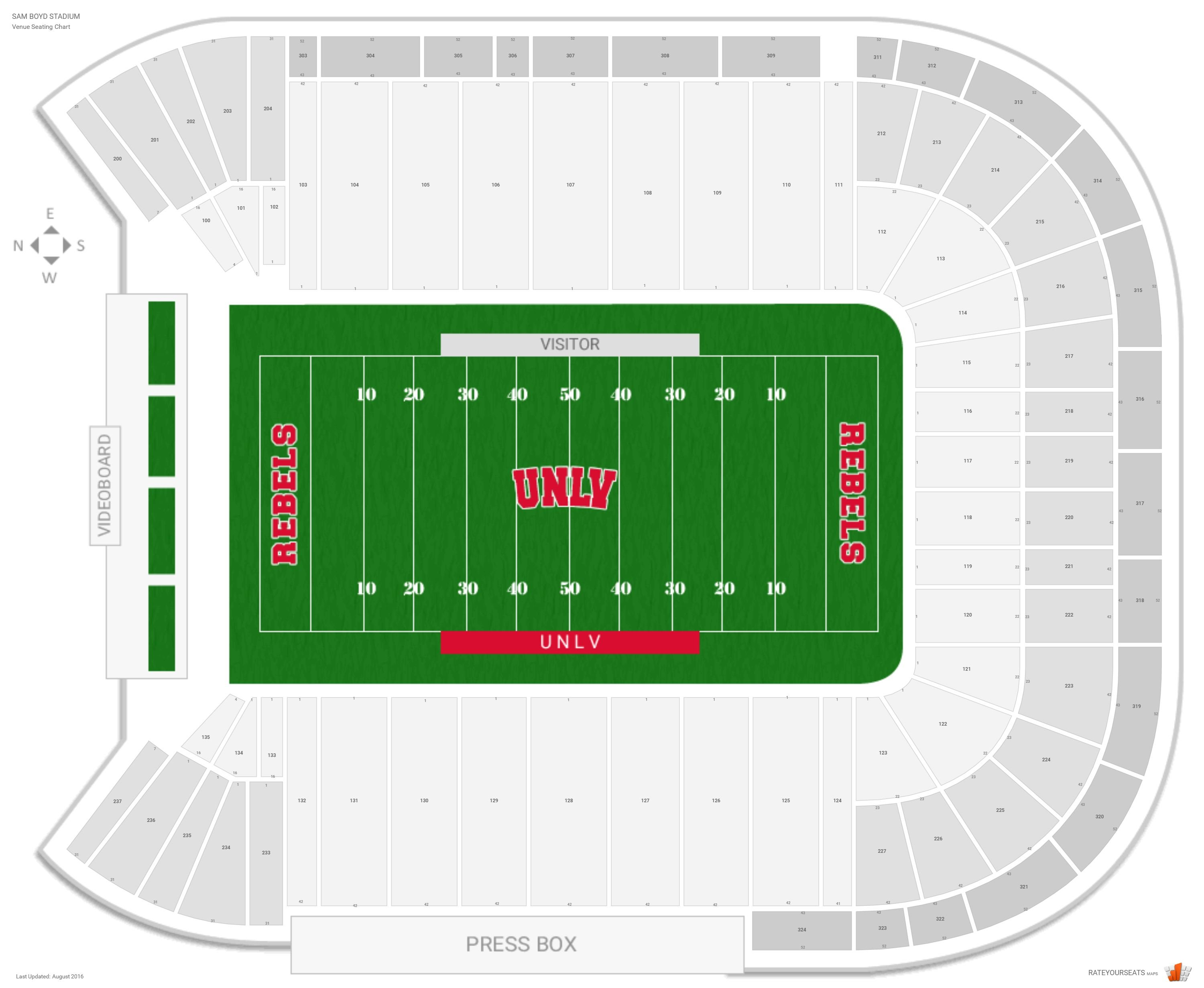 Sam Boyd Stadium Seating Chart With Row Numbers