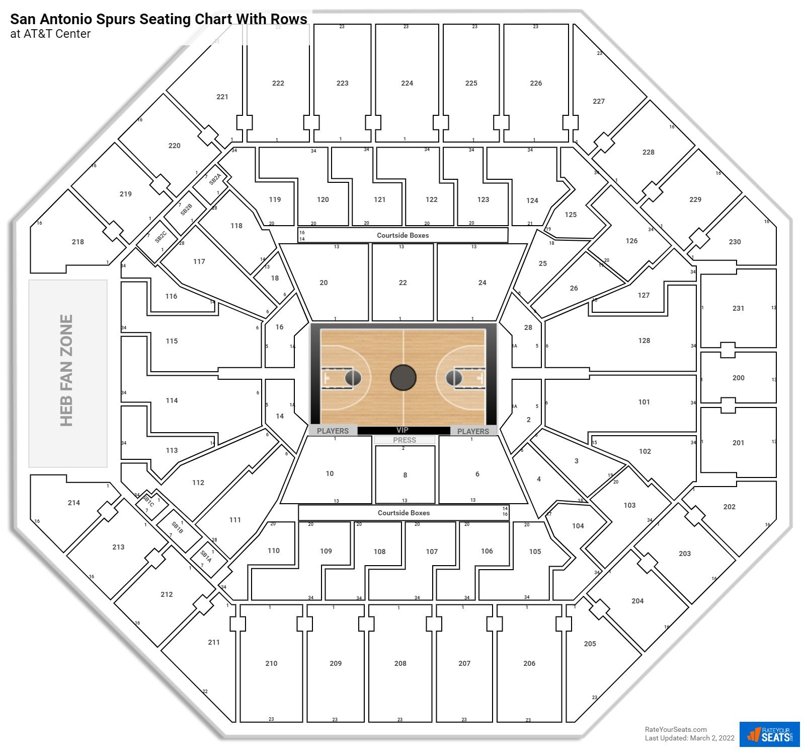 AT&T Center seating chart with rows basketball