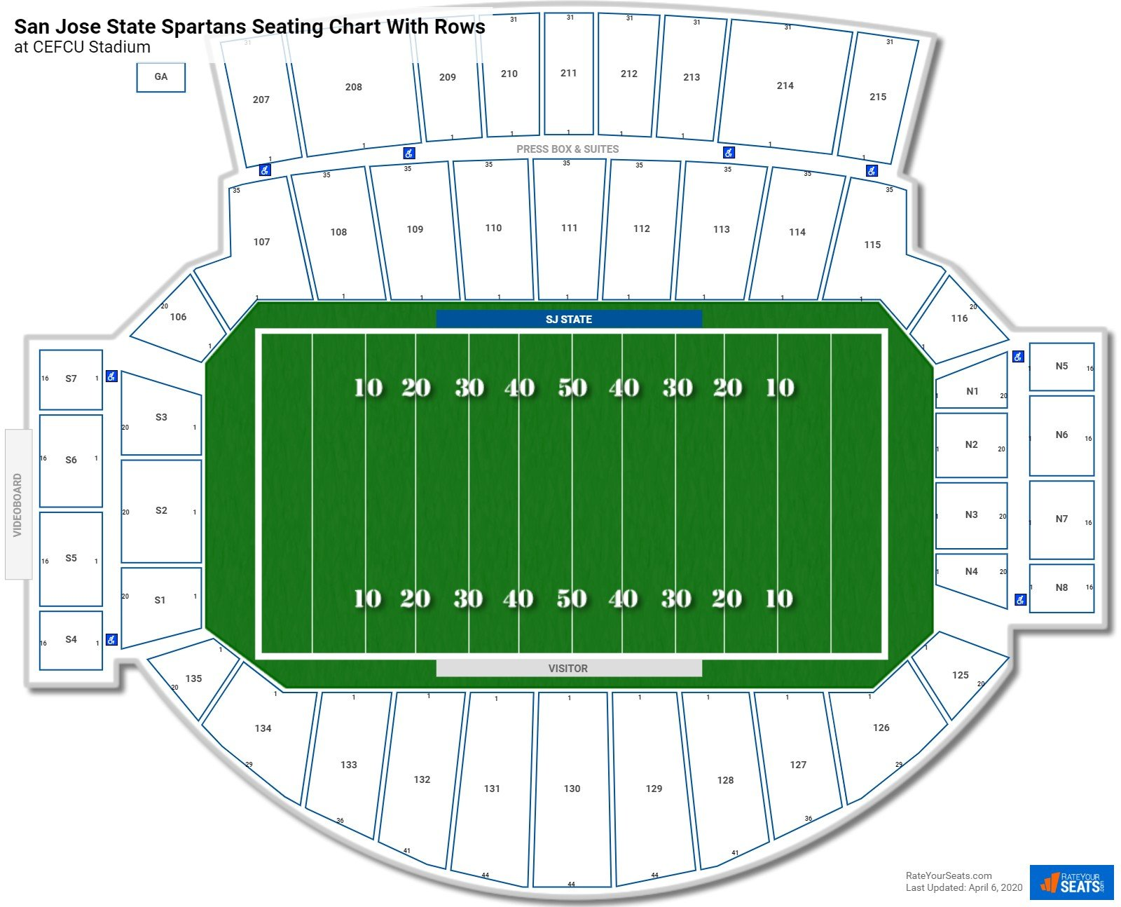 CEFCU Stadium seating chart with rows