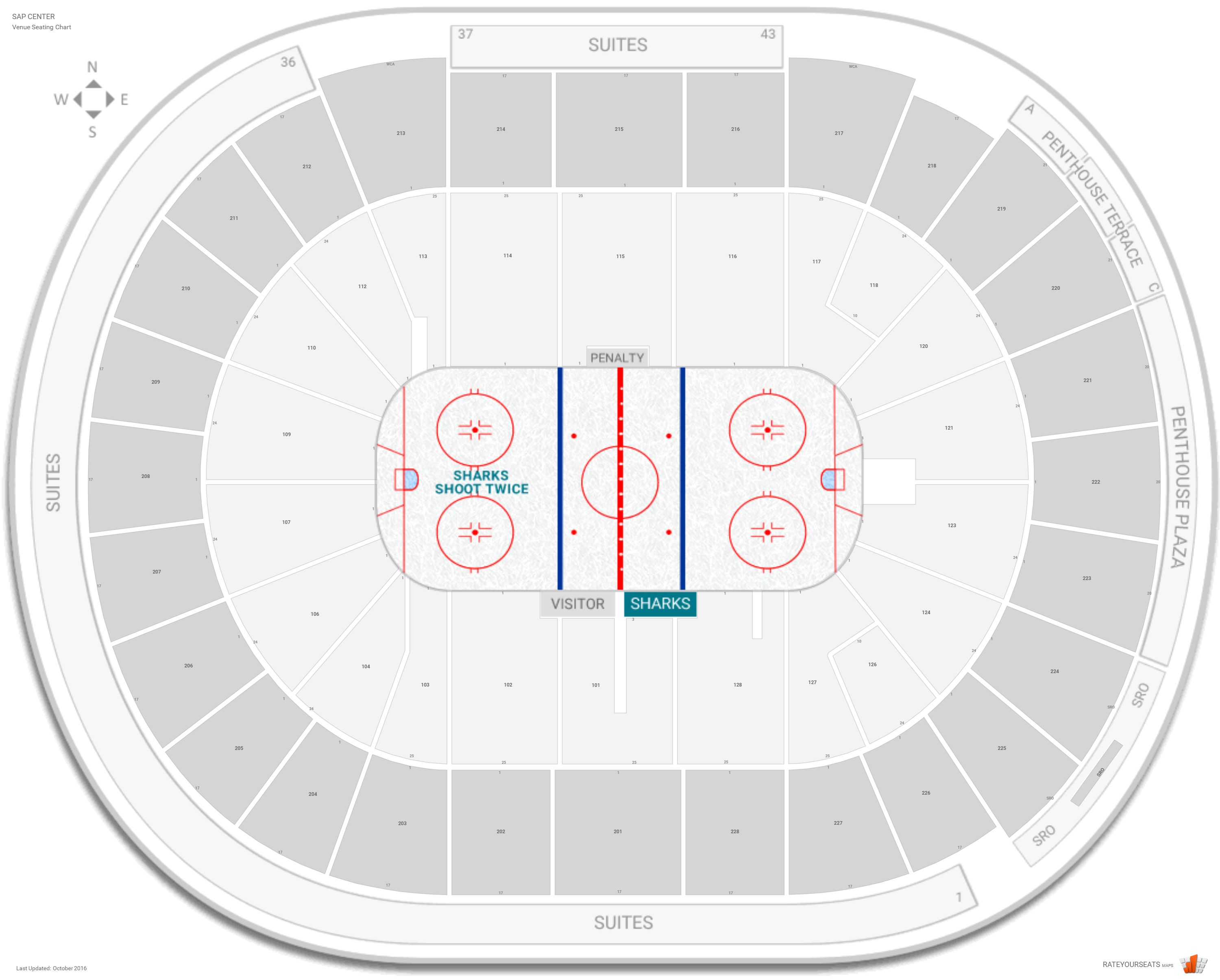 San jose sharks seating guide sap center rateyourseats com