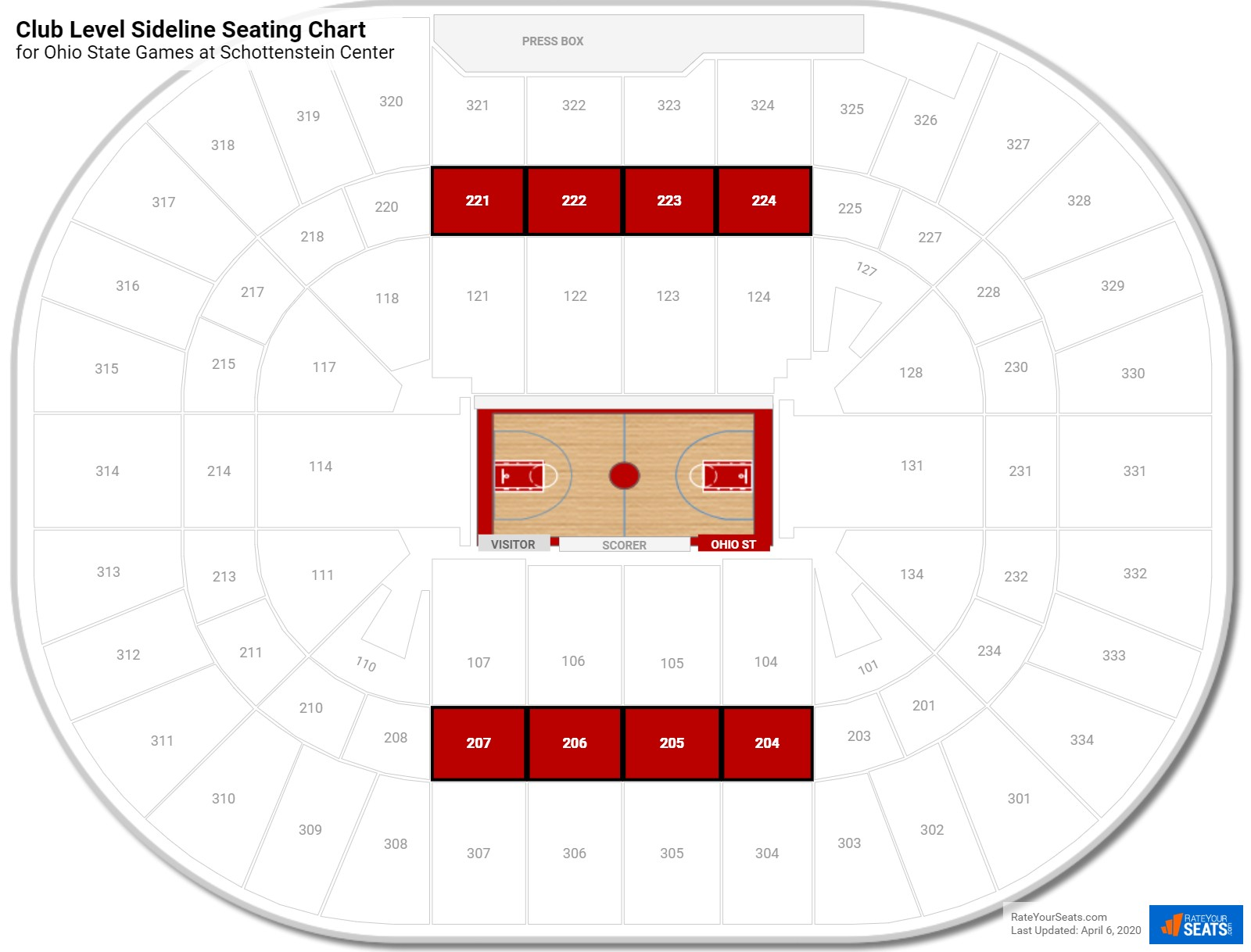 Schottenstein Center Club Level Sideline Seating Chart
