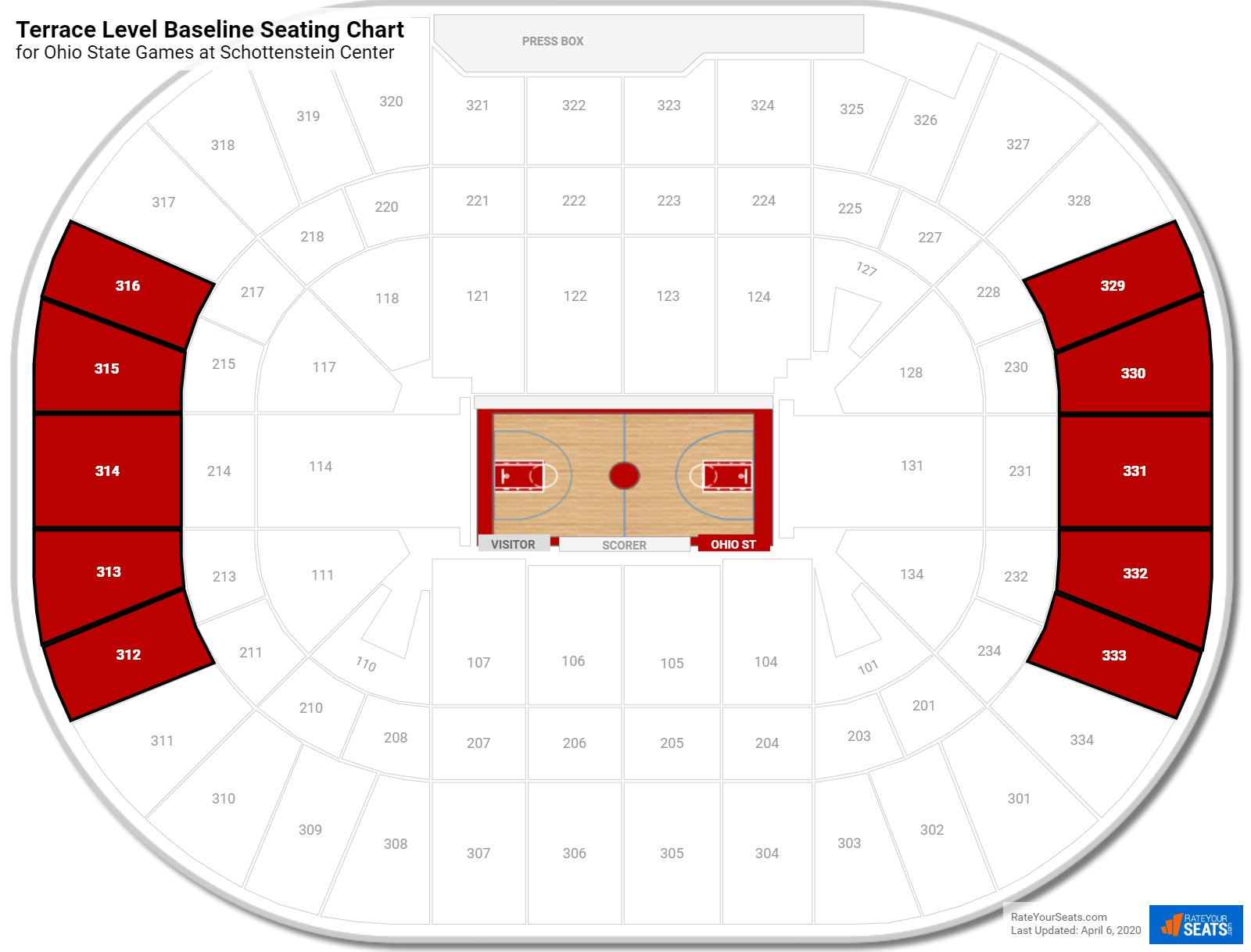 Schottenstein Center Terrace Level Baseline Seating Chart
