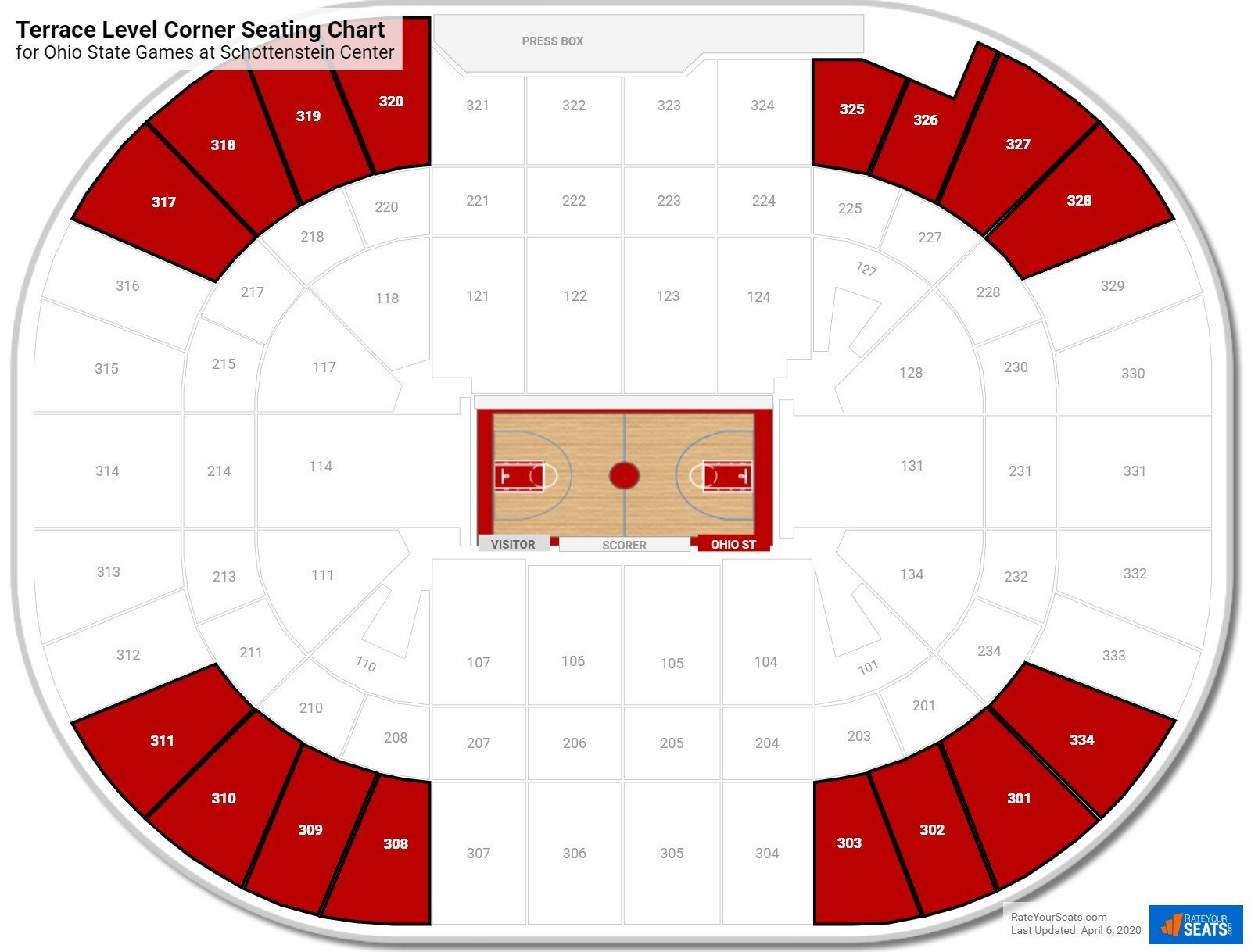 Schottenstein Center Terrace Level Corner Seating Chart
