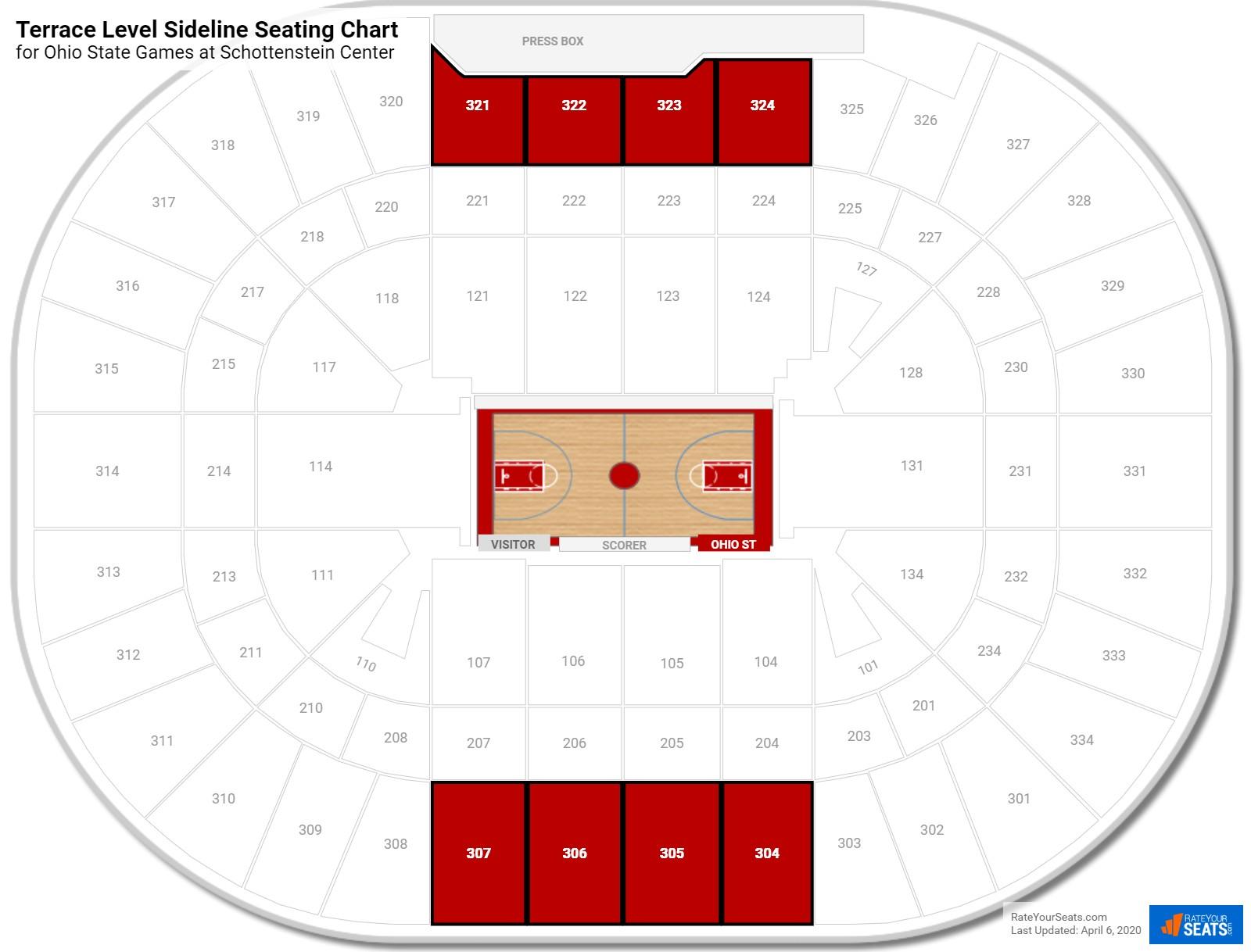 Terrace level sideline schottenstein center basketball for Terrace seating