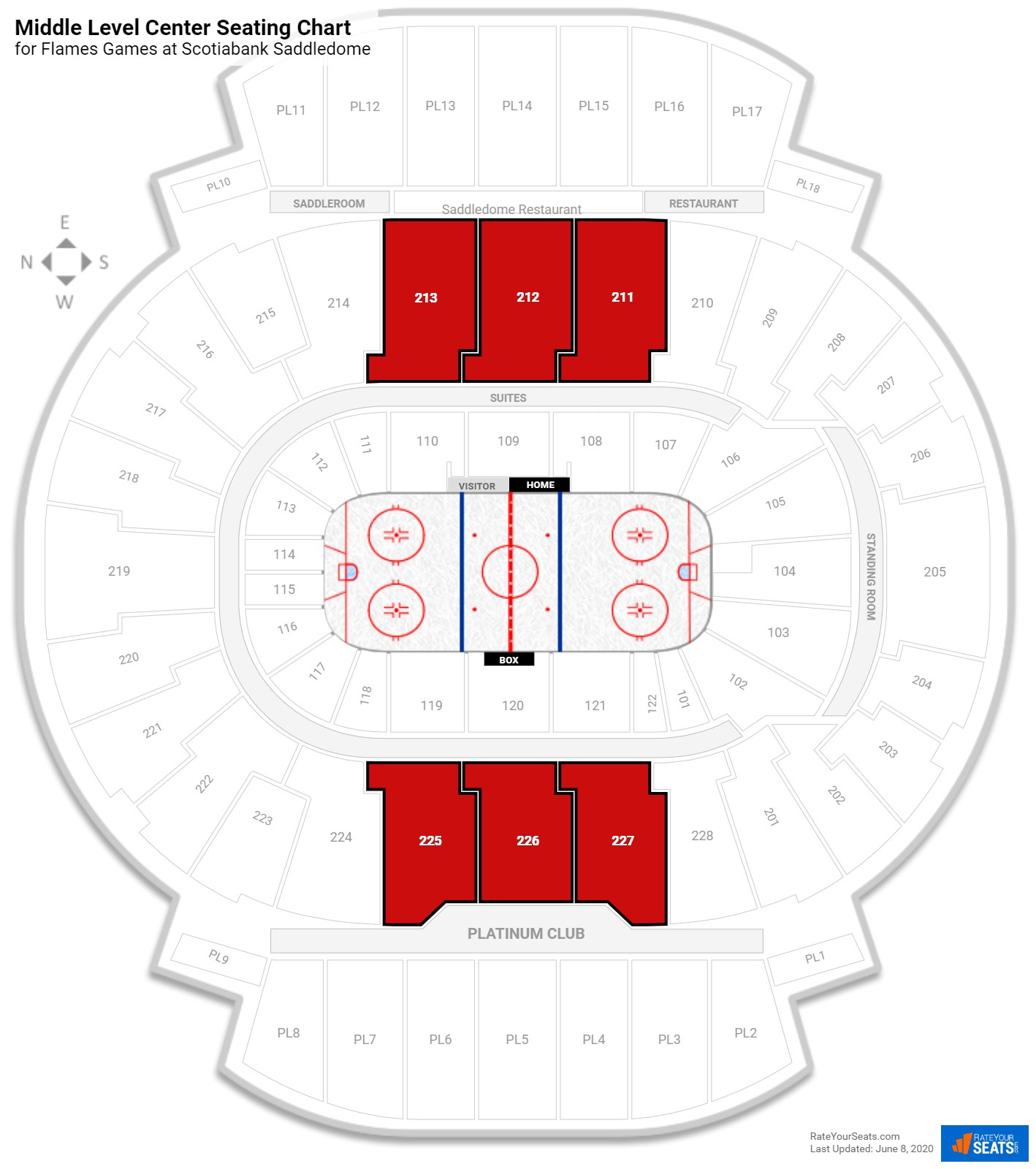Scotiabank Saddledome Middle Level Center seating chart