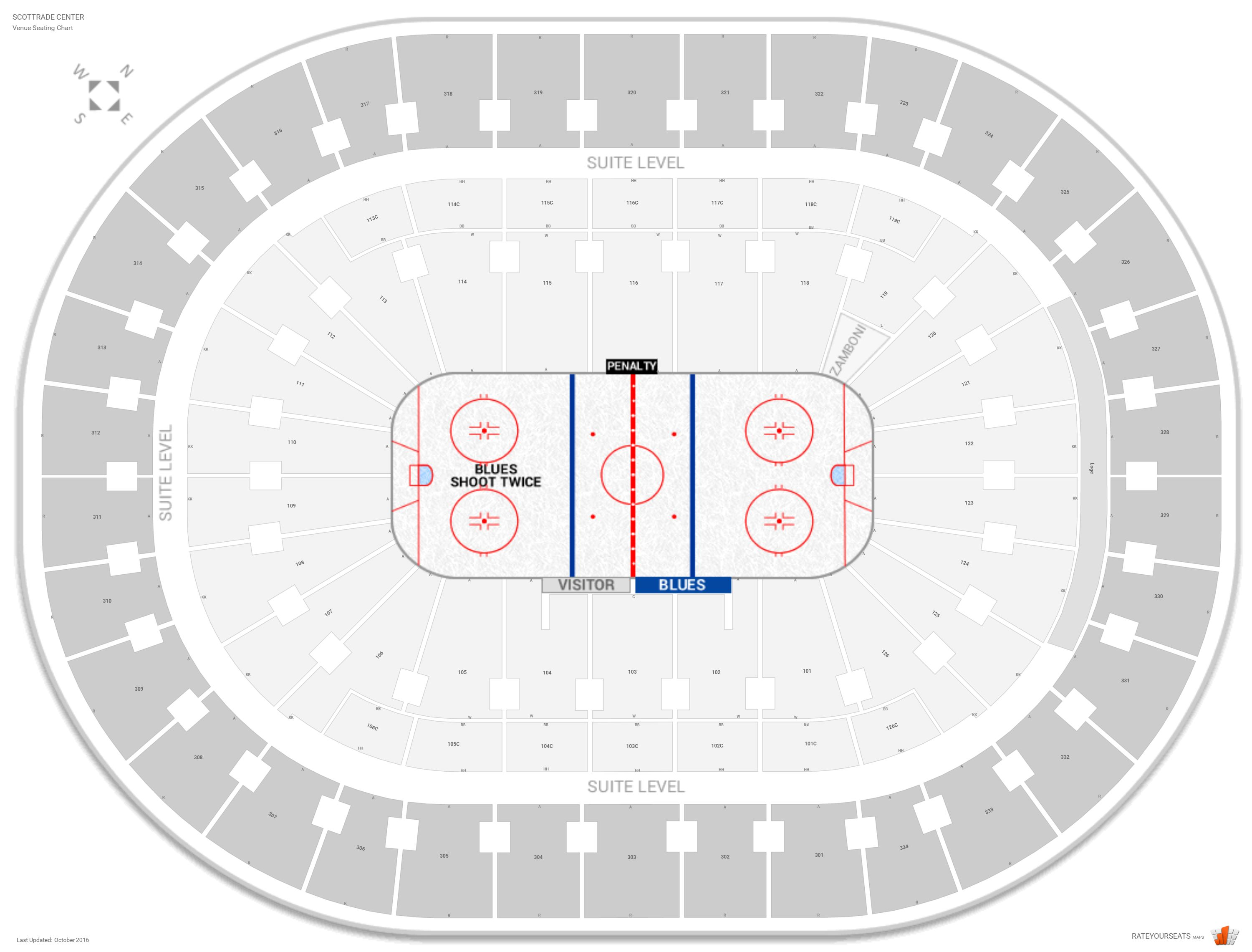 Scottrade Center Seating Chart with Row Numbers