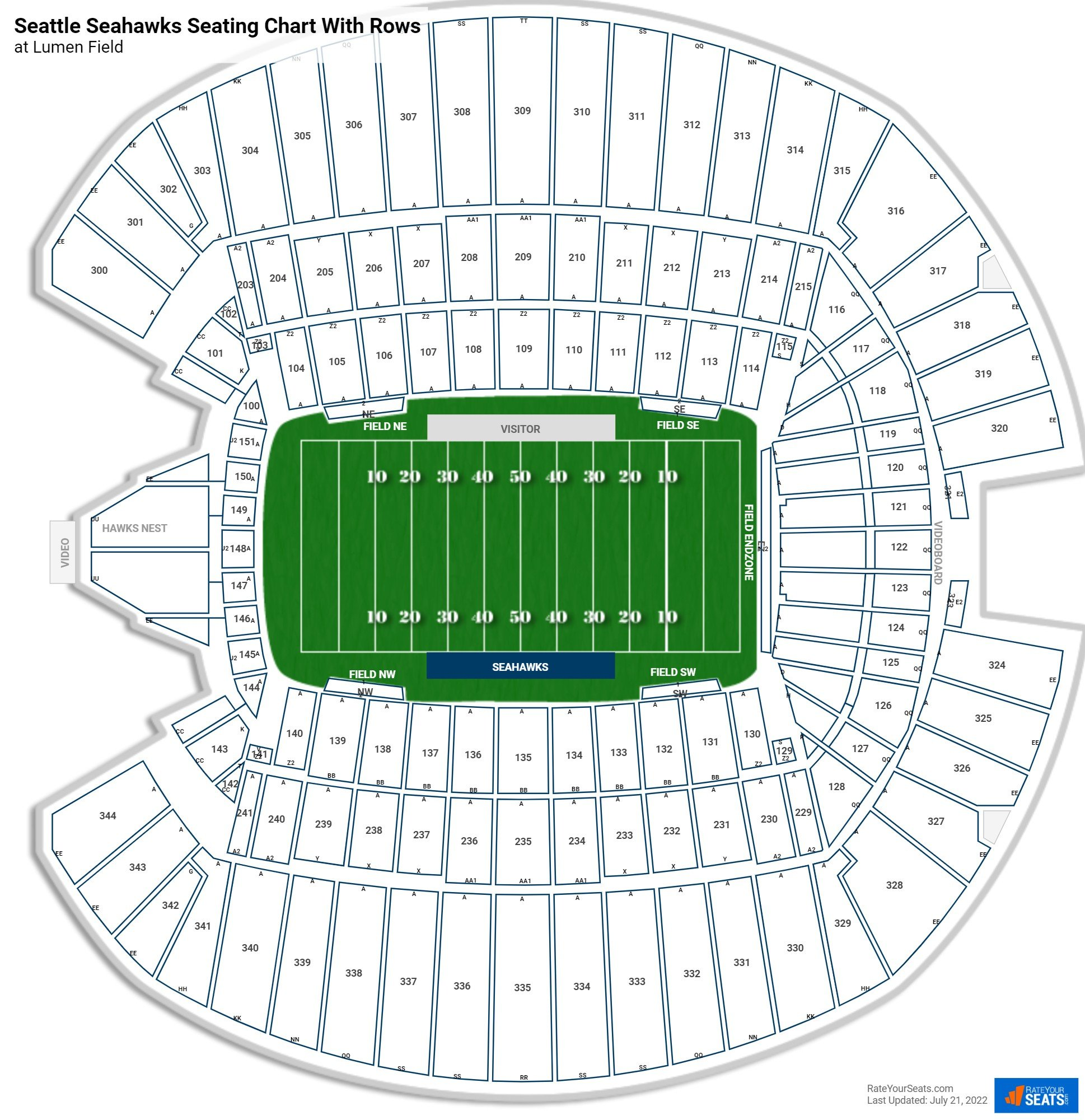 CenturyLink Field seating chart with rows football
