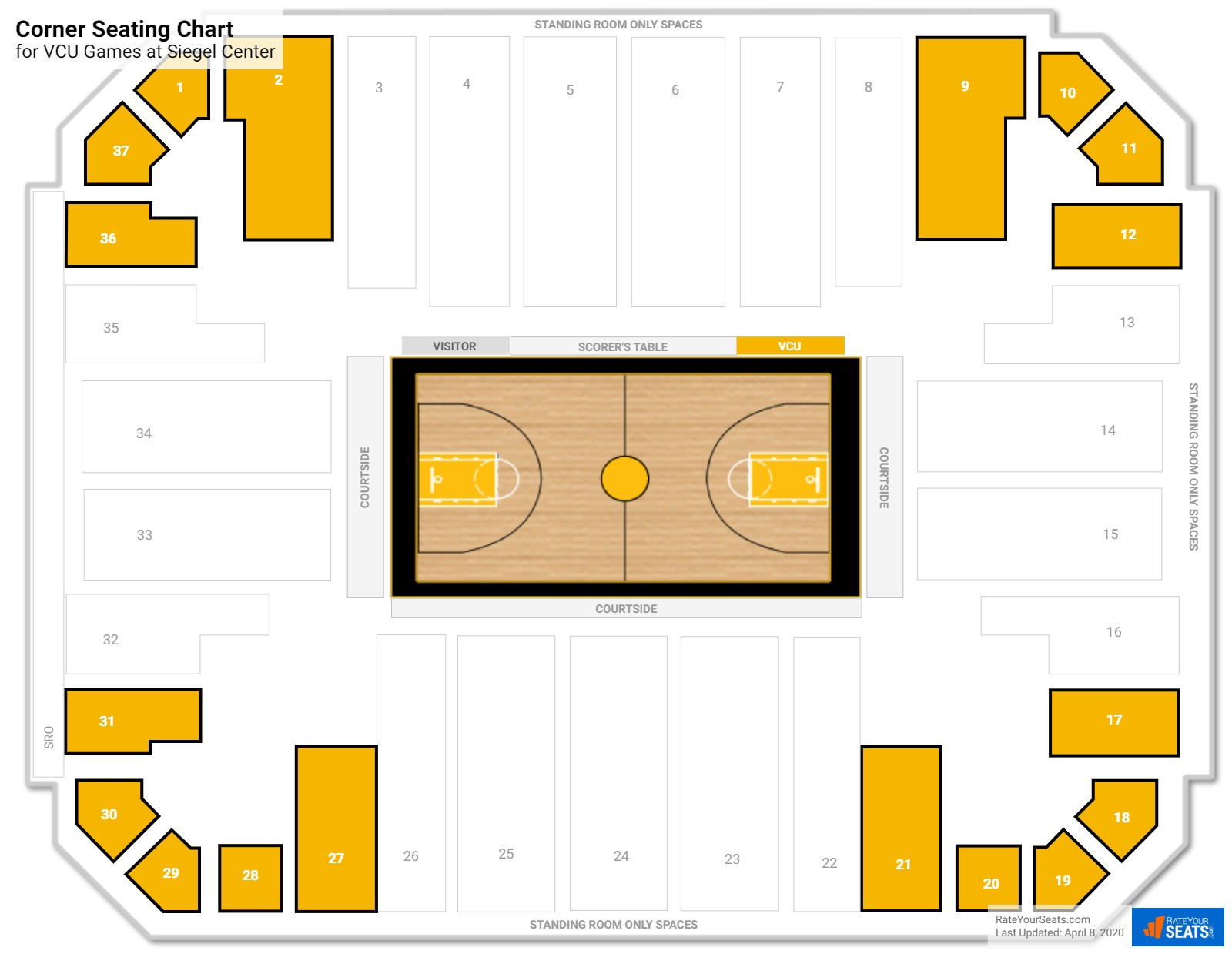 Siegel center vcu seating guide rateyourseats com