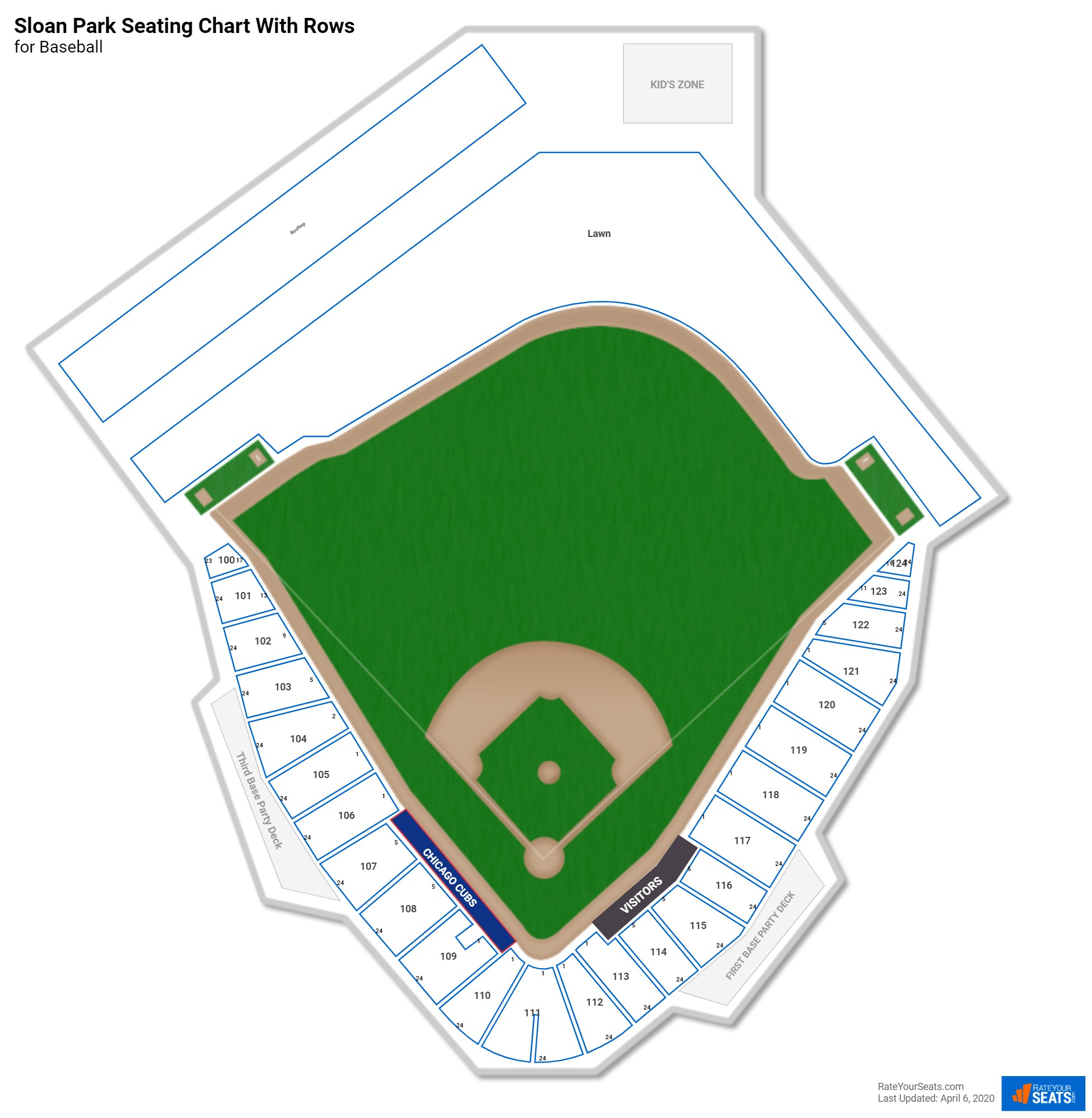 Sloan Park seating chart with rows