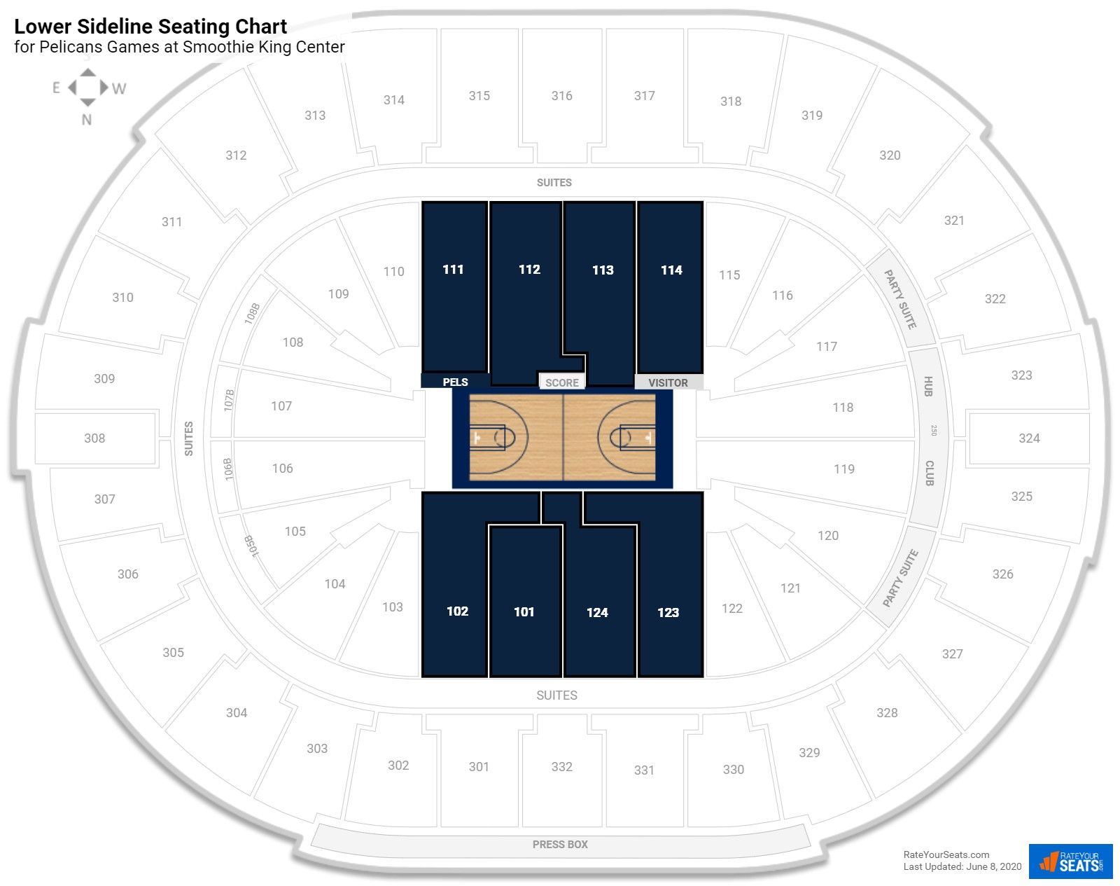 Smoothie King Center Lower Level Sideline seating chart