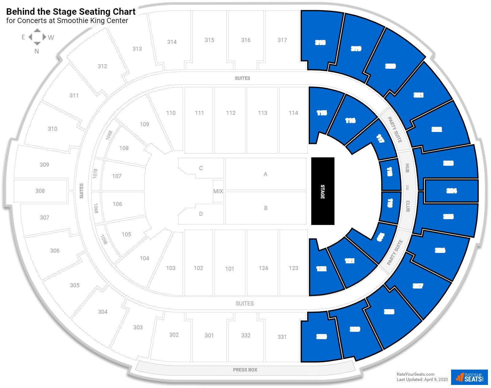 Smoothie King Center Behind The Stage Seating Chart