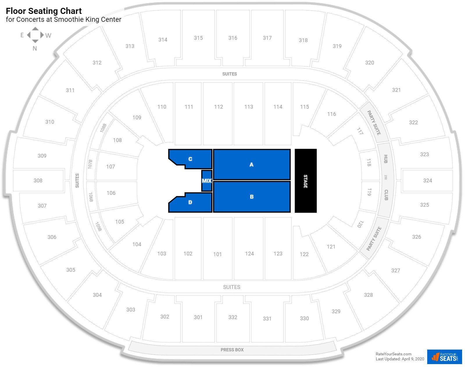 Smoothie King Center Floor Seating Chart
