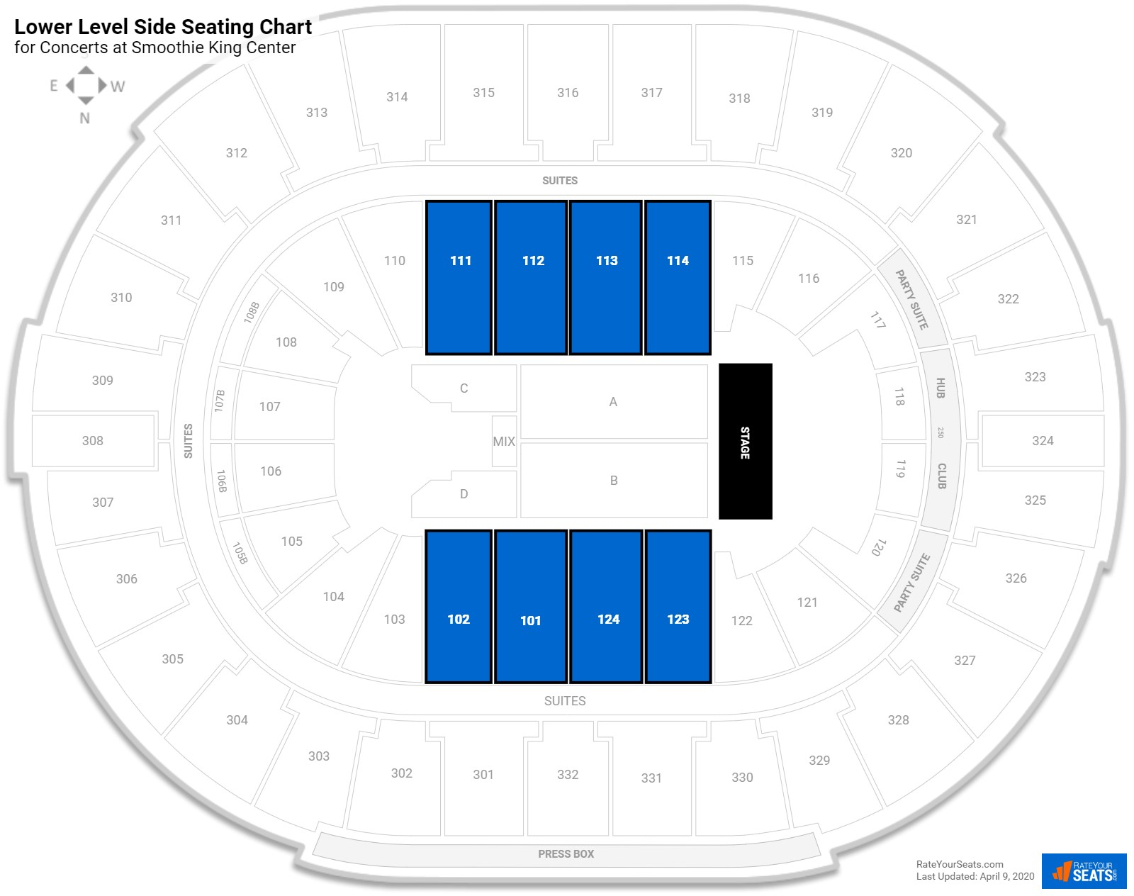 Smoothie King Center Lower Level Side Seating Chart