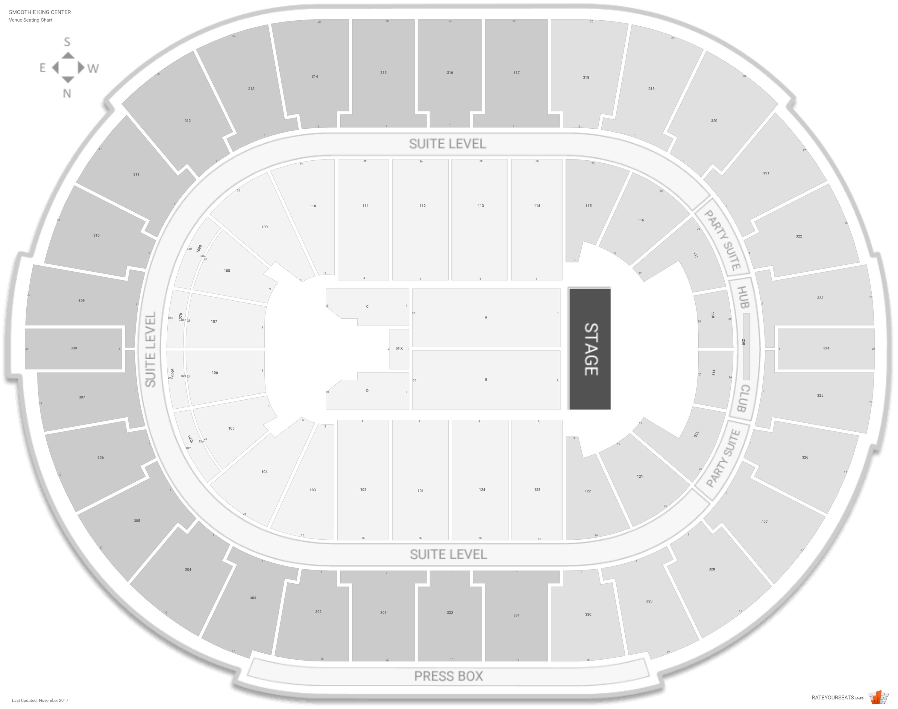 Smoothie King Center Seating Chart With Row Numbers