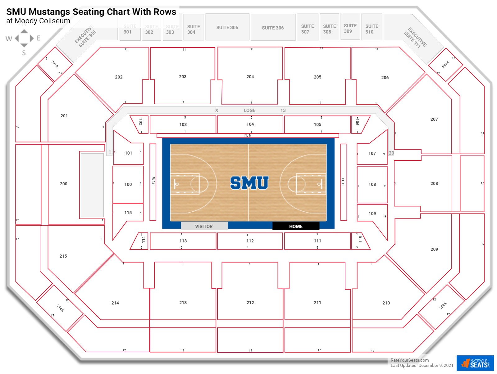 Moody Coliseum seating chart with rows