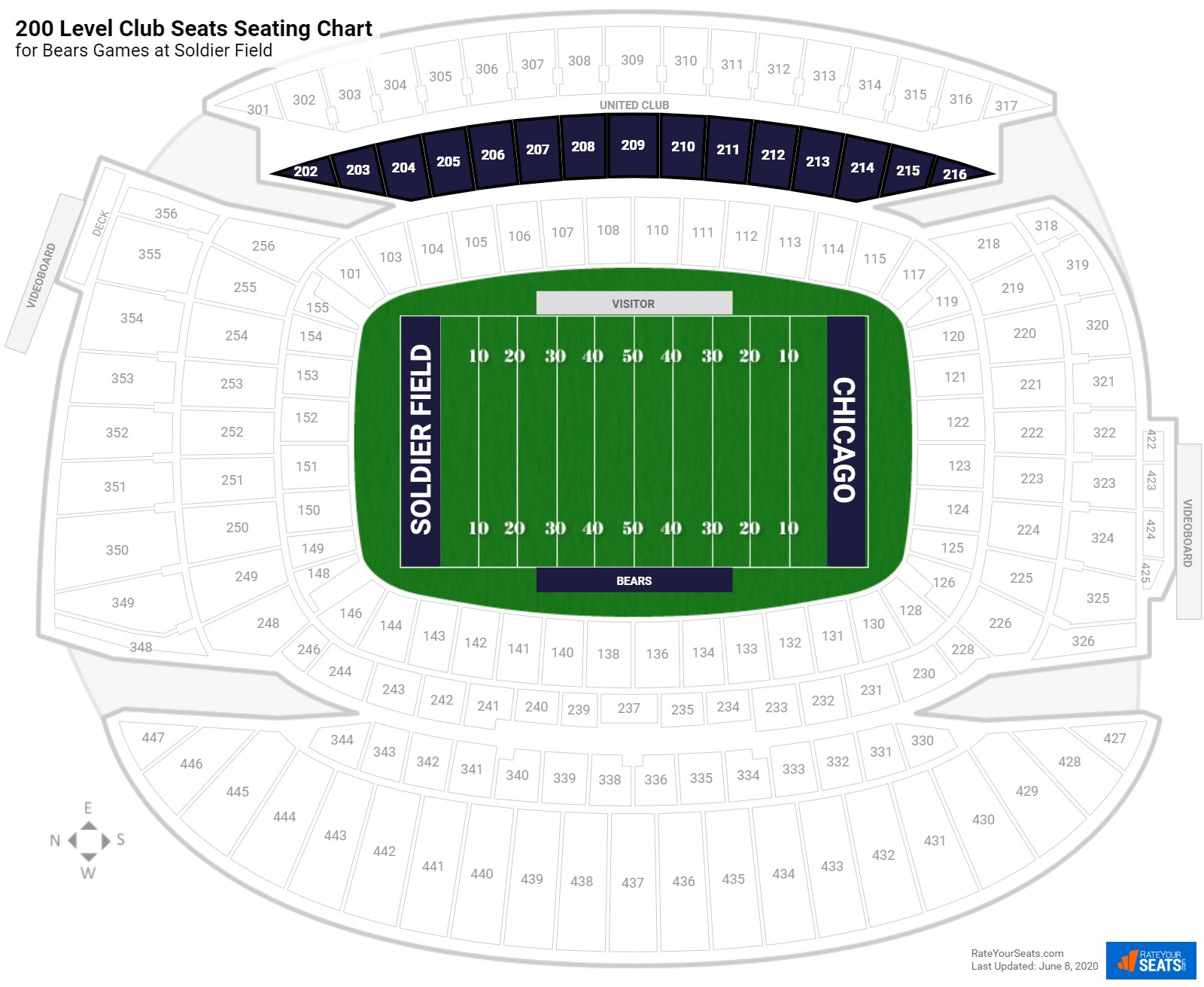 Soldier Field 200 Level Club Seats seating chart