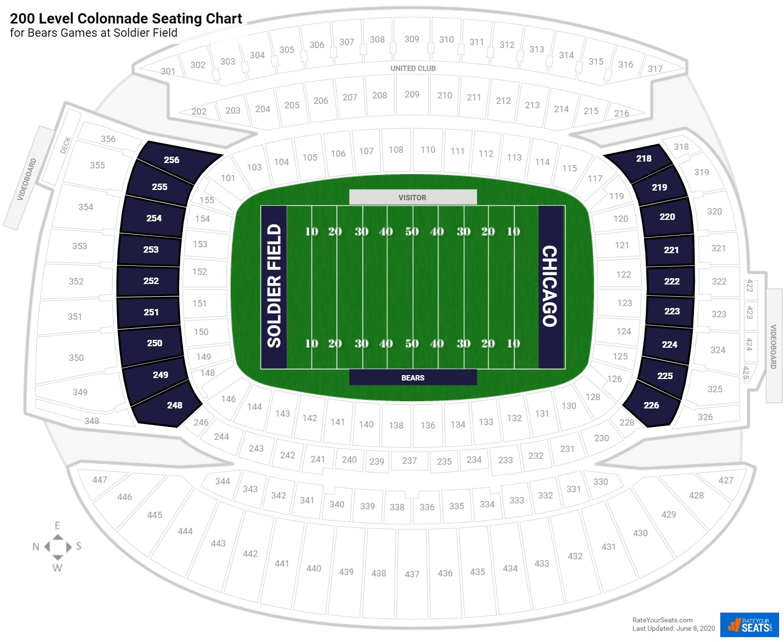 Soldier Field 200 Level Colonnade seating chart