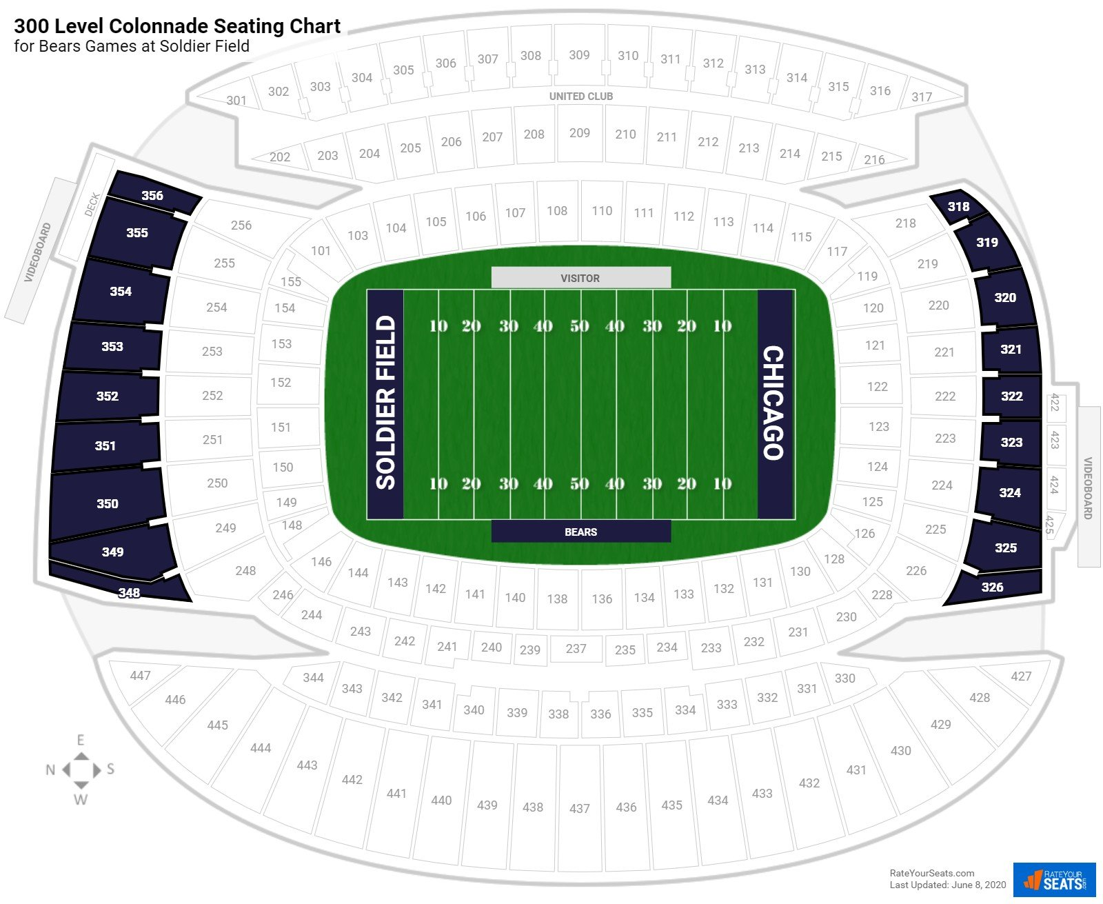 Soldier Field 300 Level Colonnade seating chart