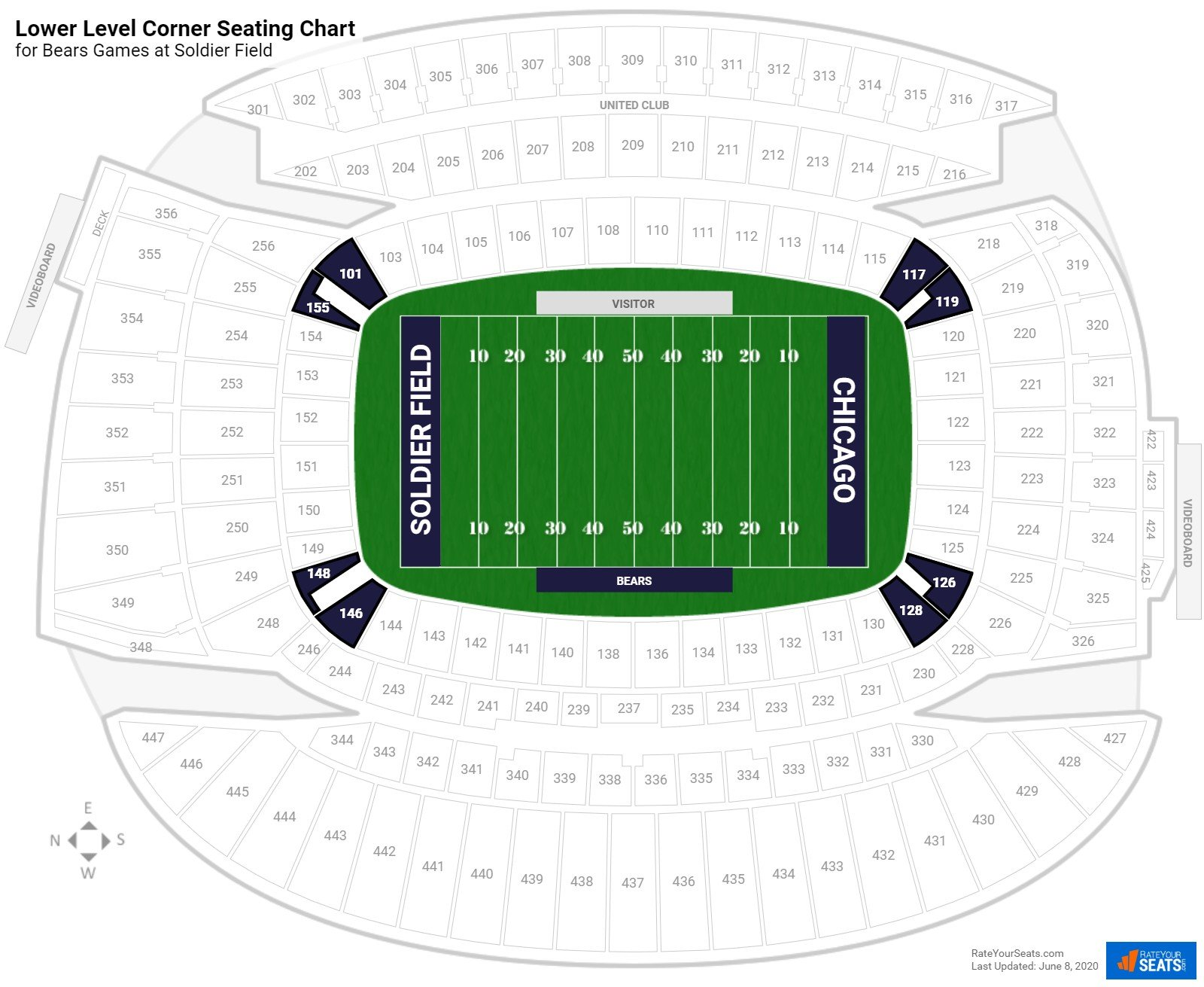 Soldier Field Lower Level Corner seating chart
