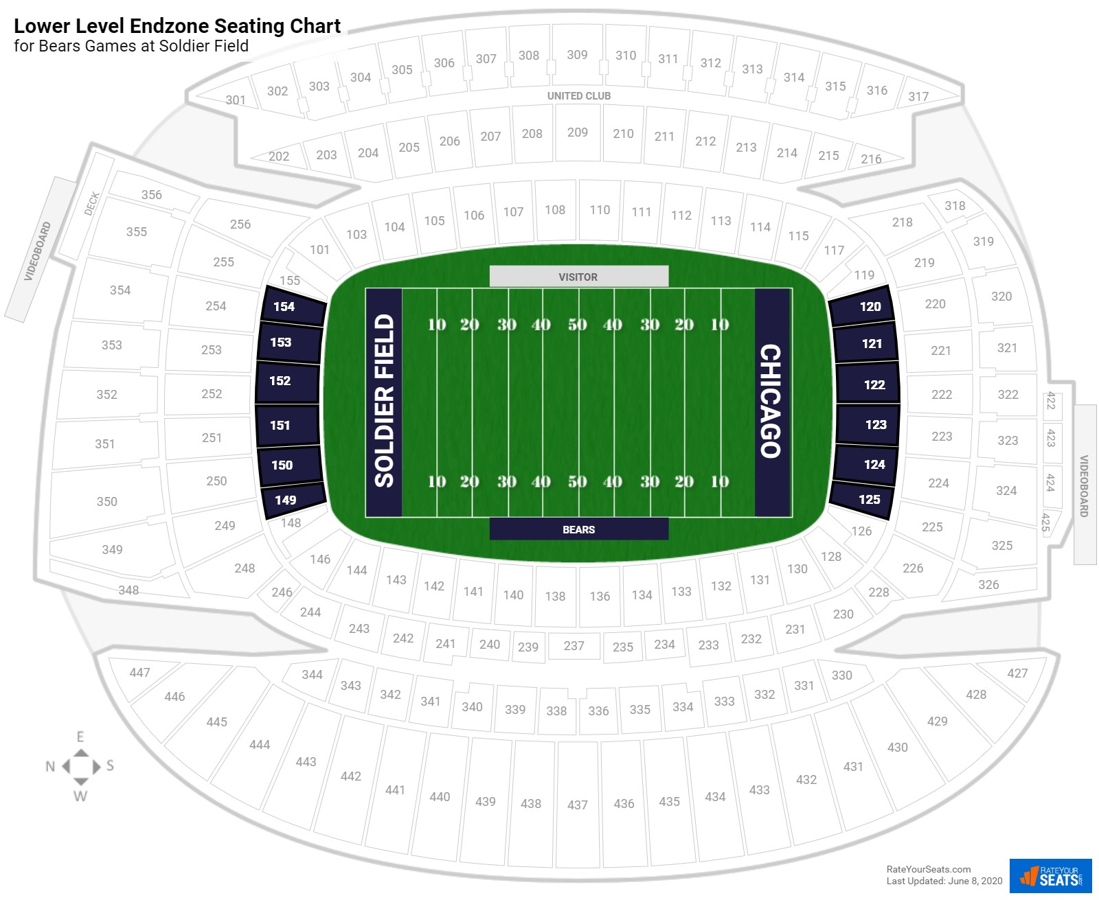 Soldier Field Lower Level Endzone seating chart