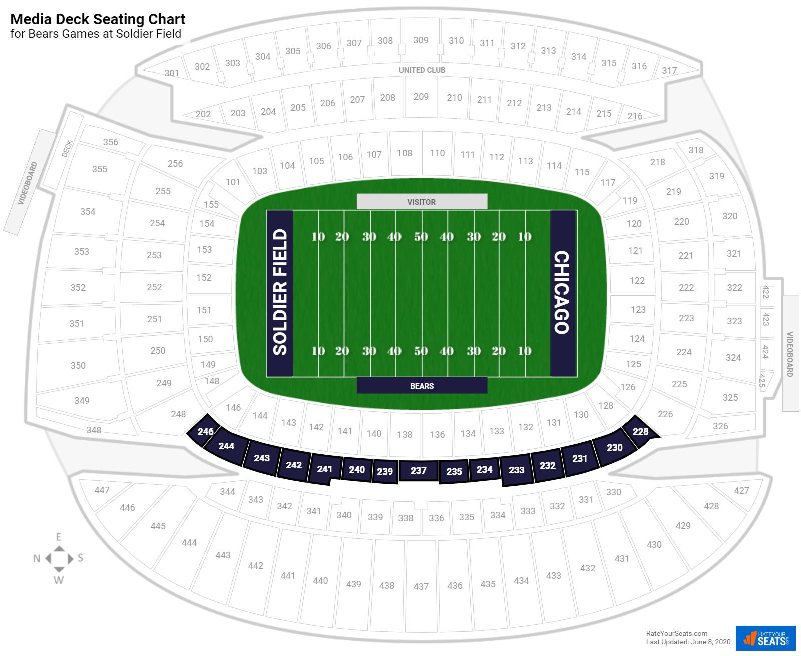 Soldier Field Media Deck seating chart