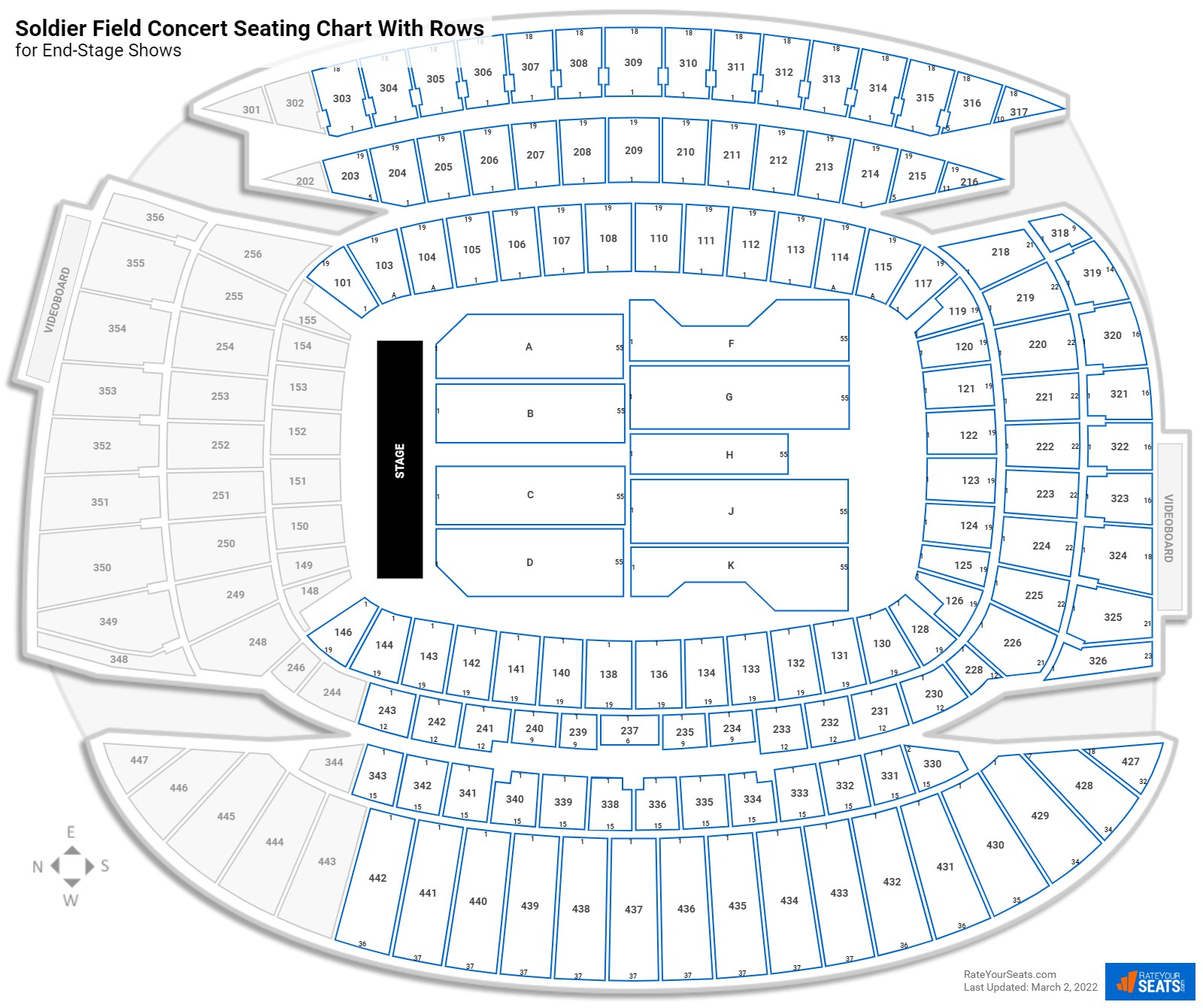 Soldier Field seating chart with rows concert